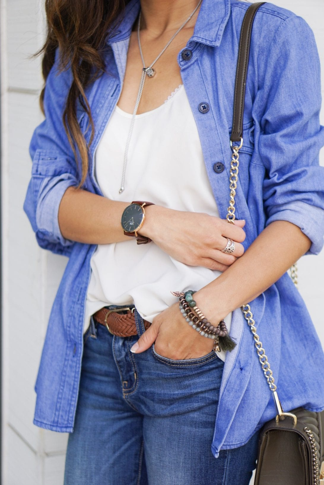 denim shirt, casual summer style