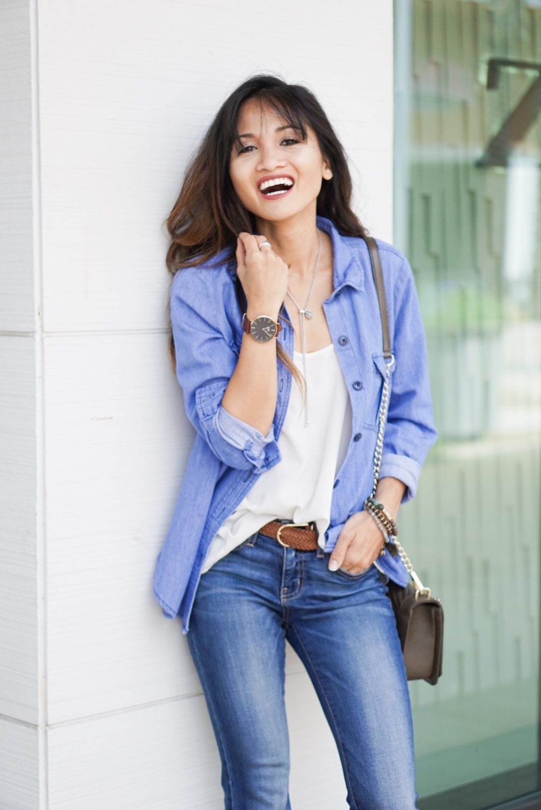 daniel wellington watch, chambray top, blue jeans