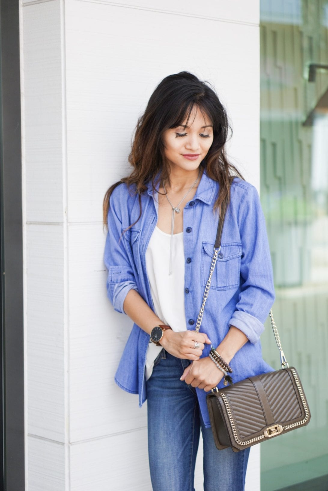 old navy denim shirt, chambray shirt, cross body love bag, rebecca minkoff