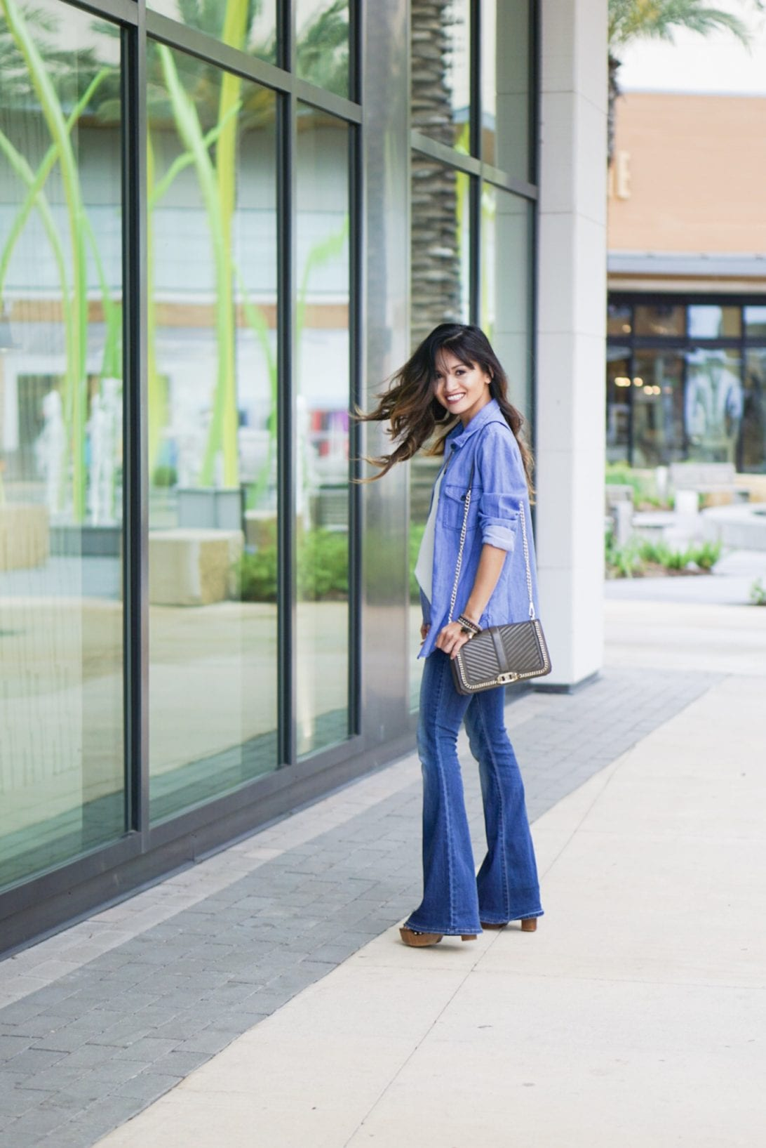 denim on denim, denim outfit, flare jeans, rebecca minkoff bag