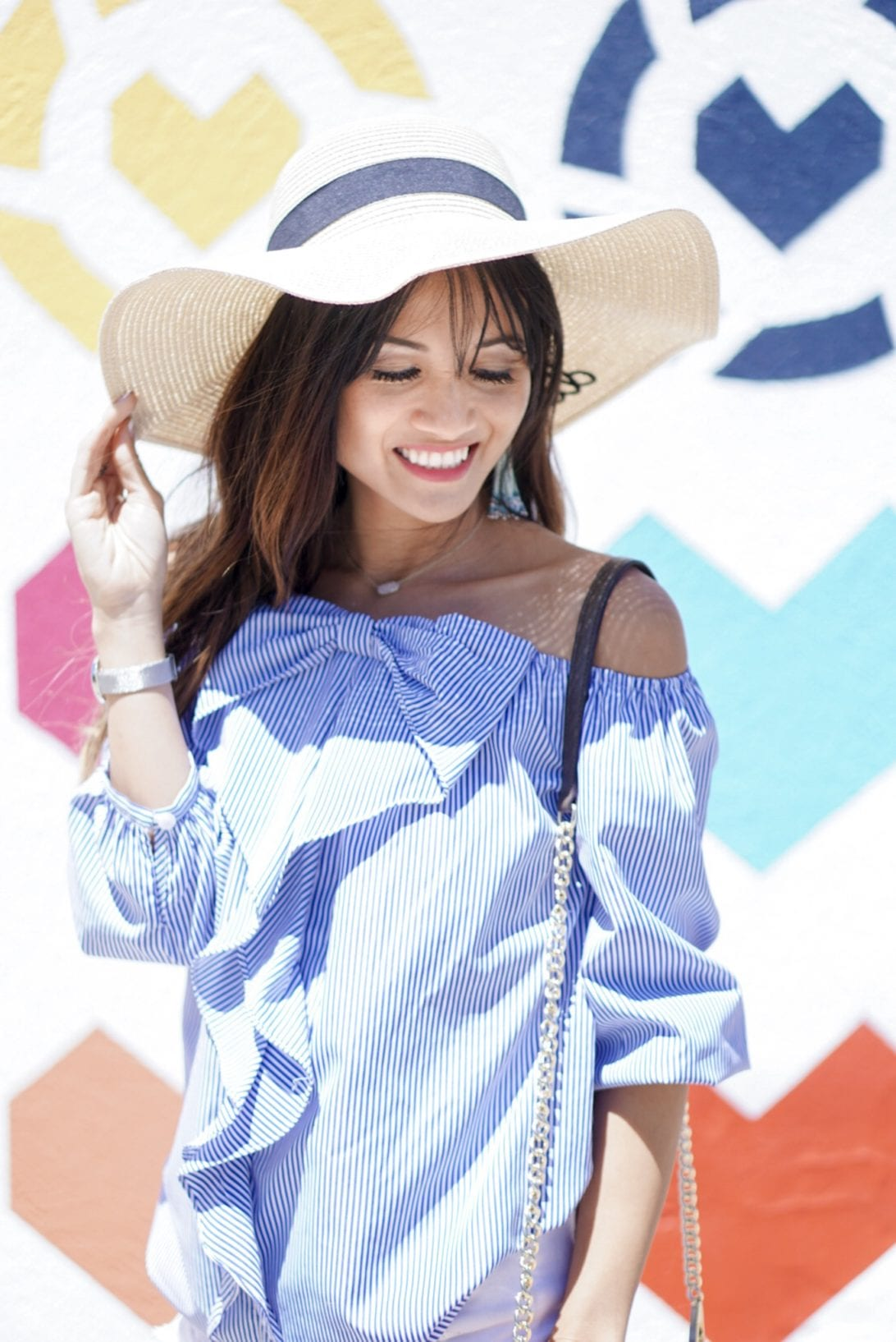 straw hat, summer style, bow top, bow blouse