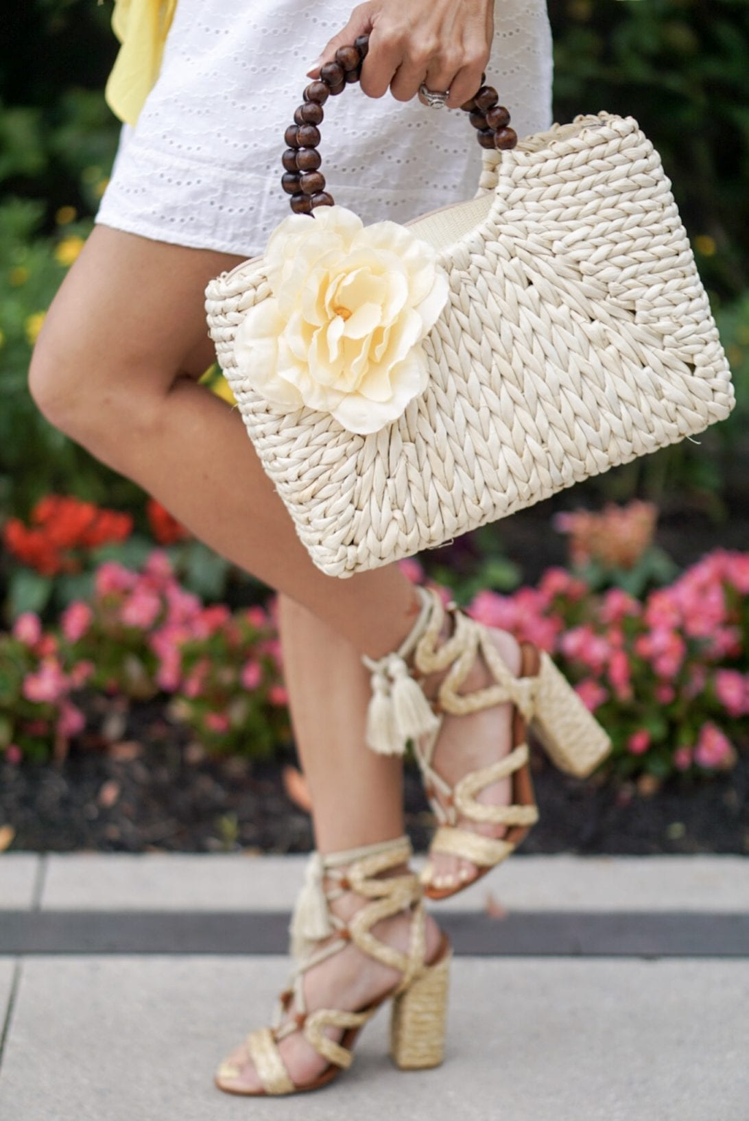 lace up blog heels, summer heels, summer sandals, floral summer bag, beach bag, straw bag