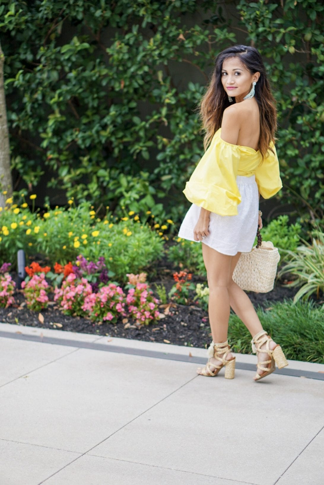 off the shoulder top, puff sleeve top, yellow top, summer outfit