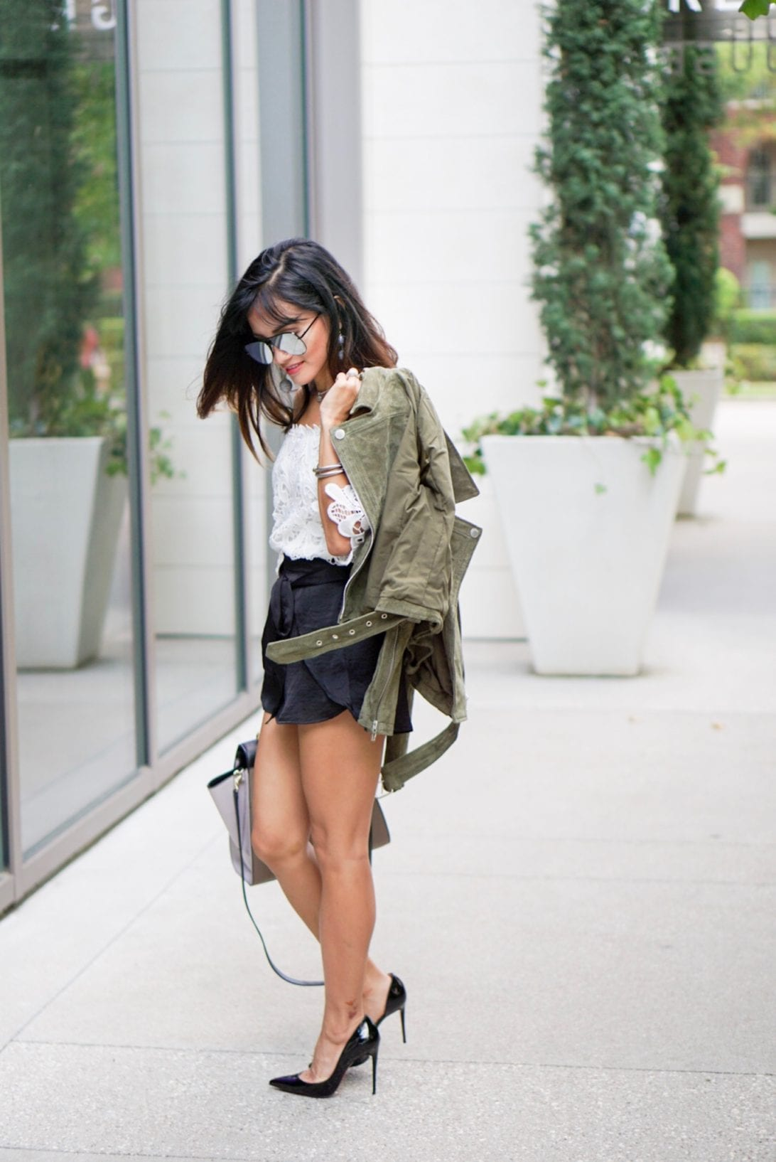 summer style, transitioning winter to summer, summer jacket, blanknyc, suede jacket, moto jacket, ily couture, christian loubouti