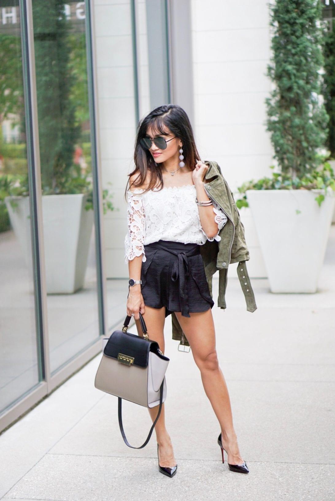business casual, chrisitian louboutin heels, black pumps, zaczac posen, bag , white crochet top, the austin earring, charming charlie, quay sunglasses