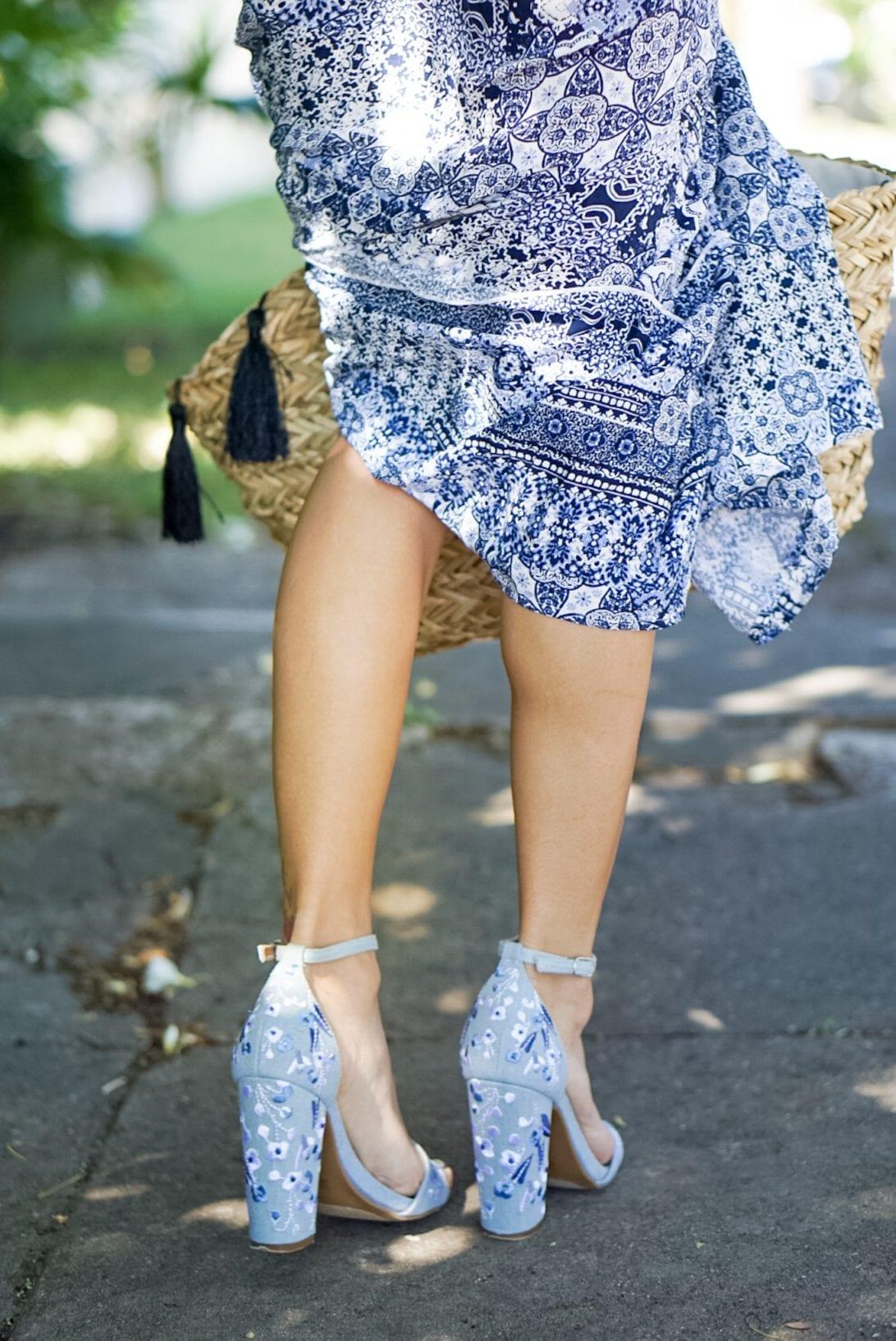 embroidered heels, block heels, maxi dress