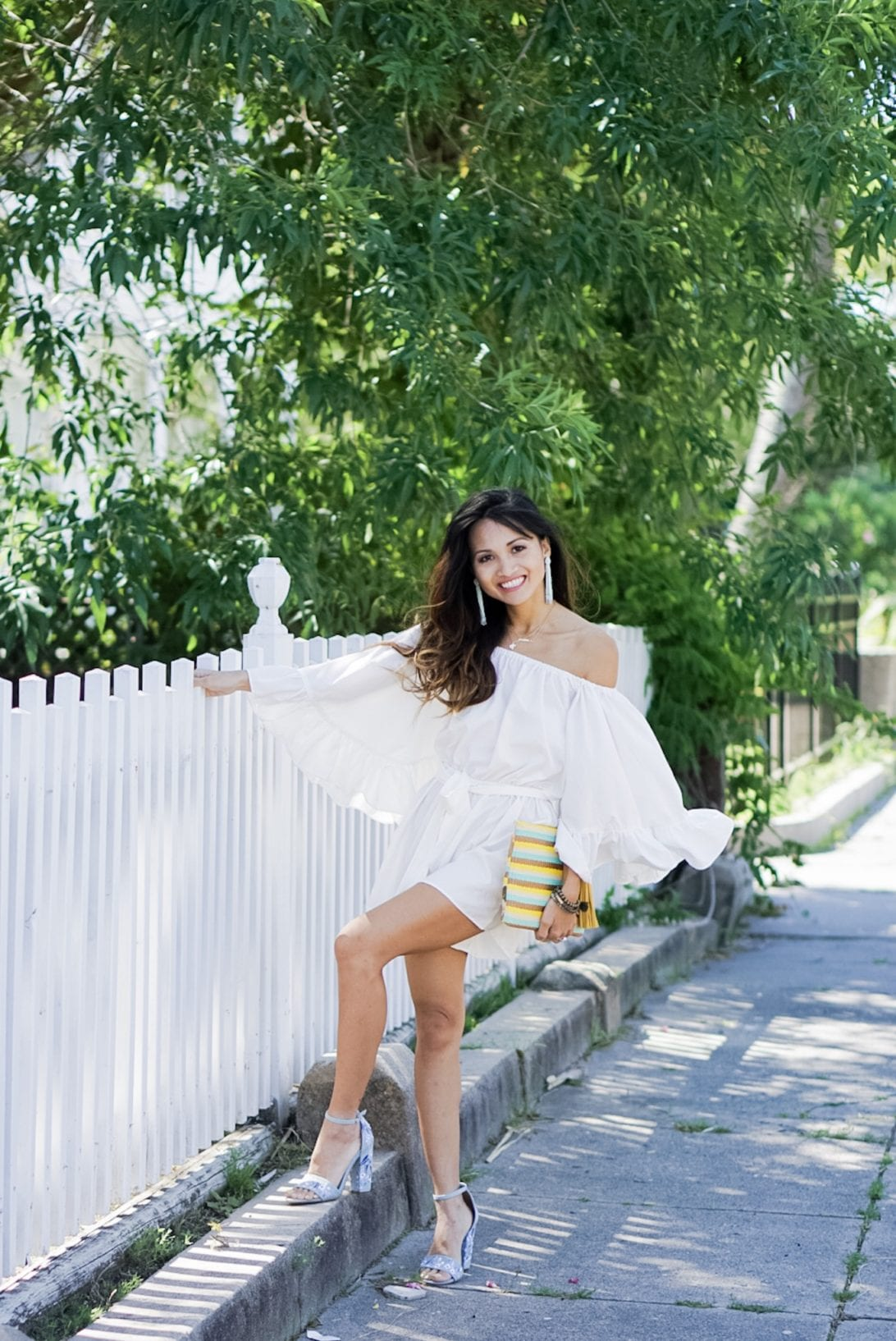 White Ruffle Romper by Houston fashion blogger Dawn P. Darnell , chicwish, tassel earrings, summer outfit, rompers, white romper