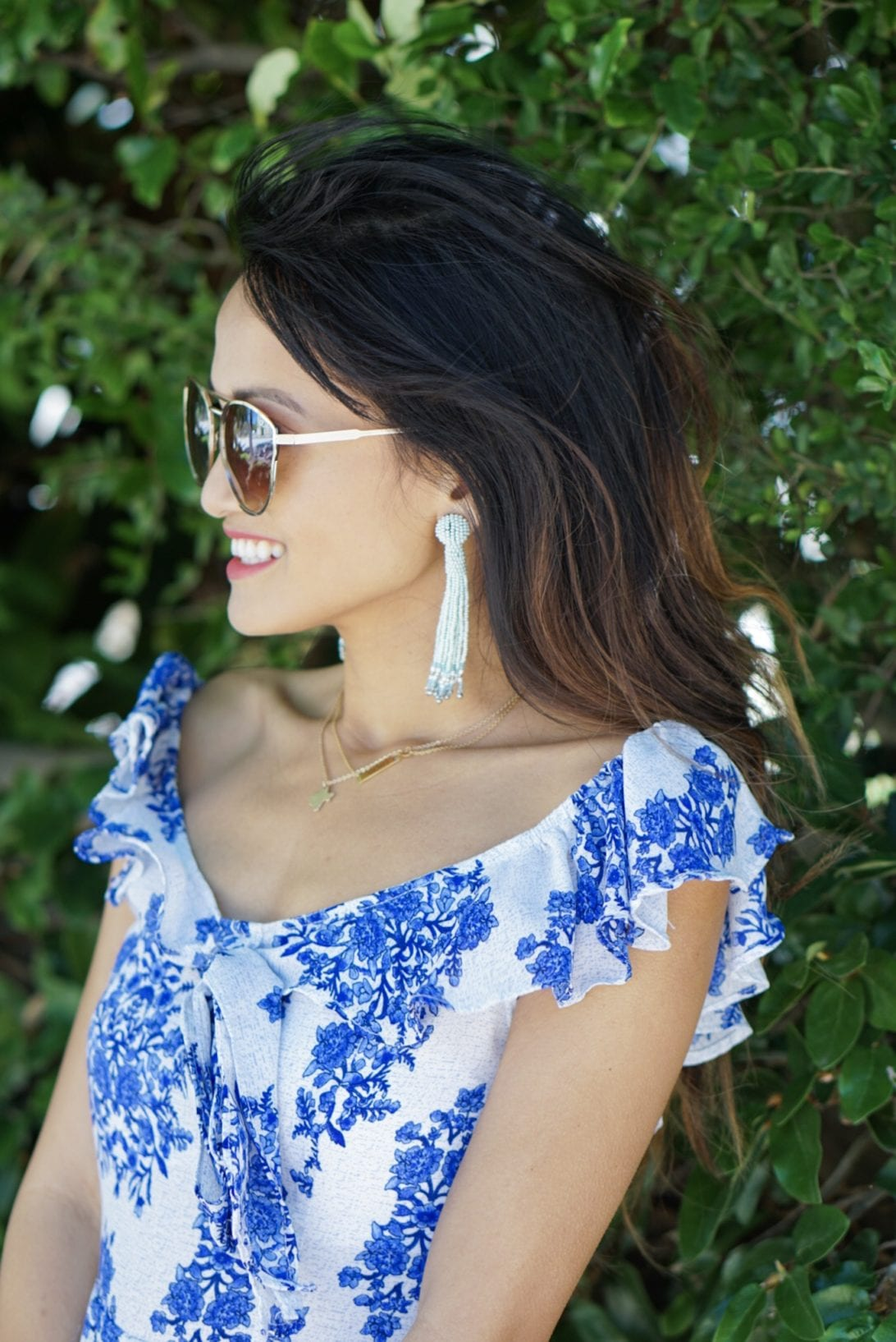 raffia woven lace-up block heel, blue ruffle romper, quay sunglasses, tassel earrings, charming charlie, blush and stone boutique, straw bag, amazon, summer outfit, summer style, summer accessories