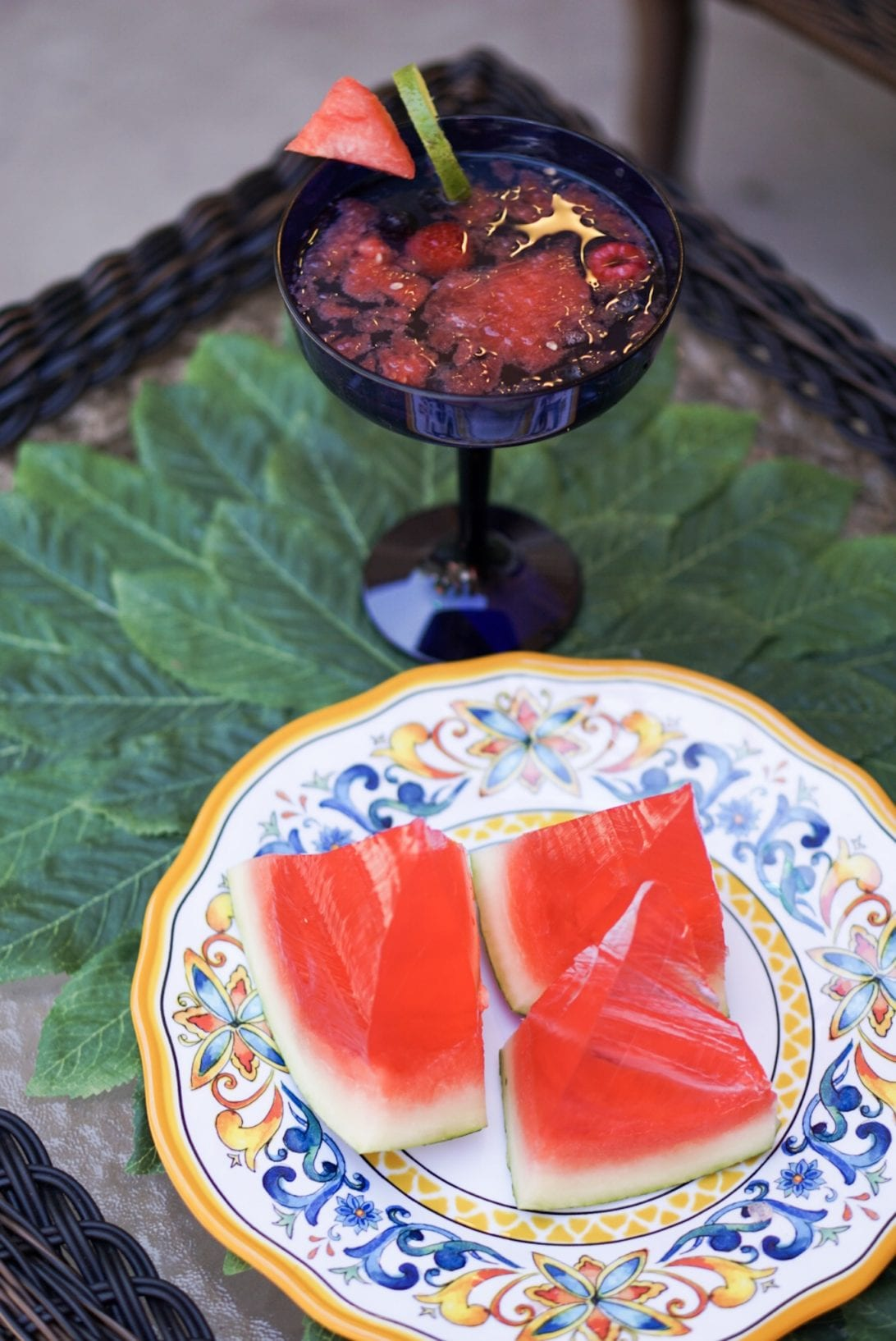 5 Tips to Get Your Patio Block Party Ready for Summer with Pier 1 Imports, lemon leaves placemat, margarita glass, watermelon shots, watermelon sangria, summer party drinks