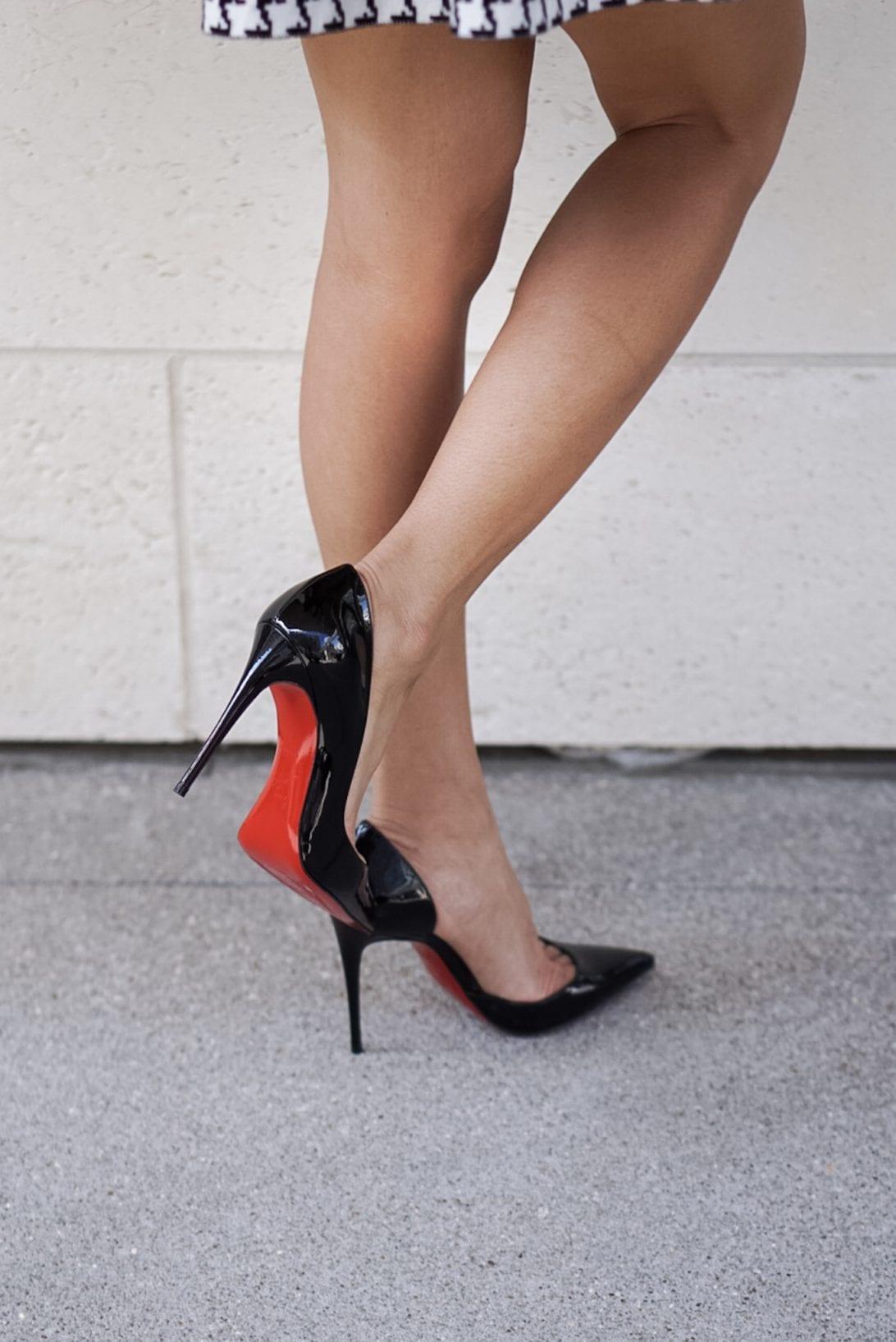 christian louboutin, heels, red soles, black pumps, black patent heels