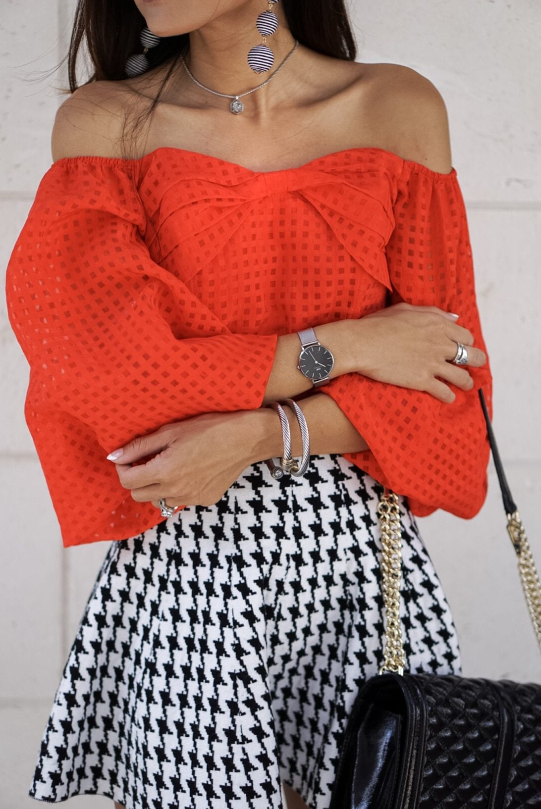 RED OFF THE SHOULDER BASKET WEAVE TOP WITH BOW TIE WAIST, daniel wellington watch, petite watch, austin earring, charming charlie, houndstooth skirt, puff sleeves, love cross body bag, flap bag, louboutin heels, black patent heels