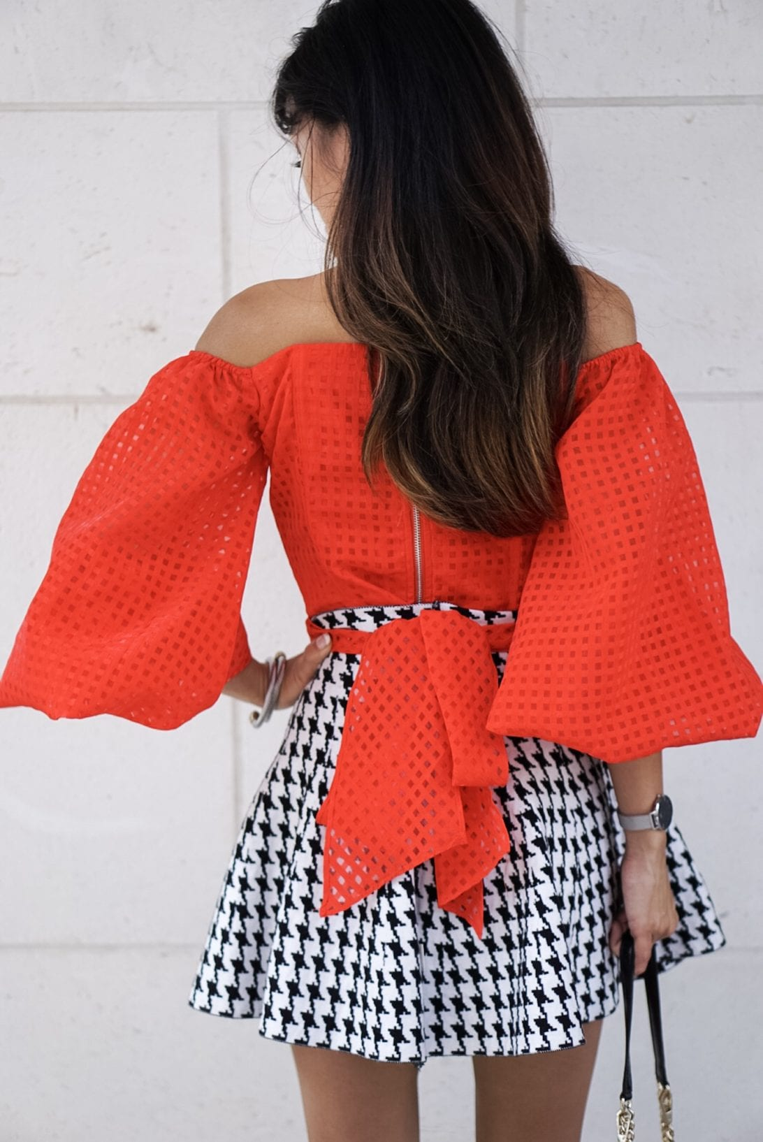 RED OFF THE SHOULDER BASKET WEAVE TOP WITH BOW TIE WAIST, houndstooth skirt, puff sleeves, love cross body bag, flap bag,