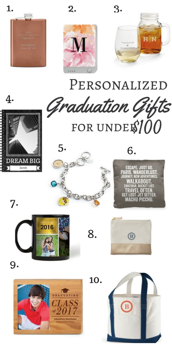 Personalized Graduation Gifts for Under $100 , personalized gifts, graduation gifts, gifts under $100, photo mug, flask, phone charger, tote bag, inspirational note pad, shutter fly, gift ideas, grad gift ideas, gifts for the graduate