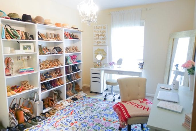 home office tour, vanity room, wardrobe, fashion blogger office, closet office, shoe closet, home office, home decor, office inspiration, shoe shelves, beauty room, chandelier, shoe wall