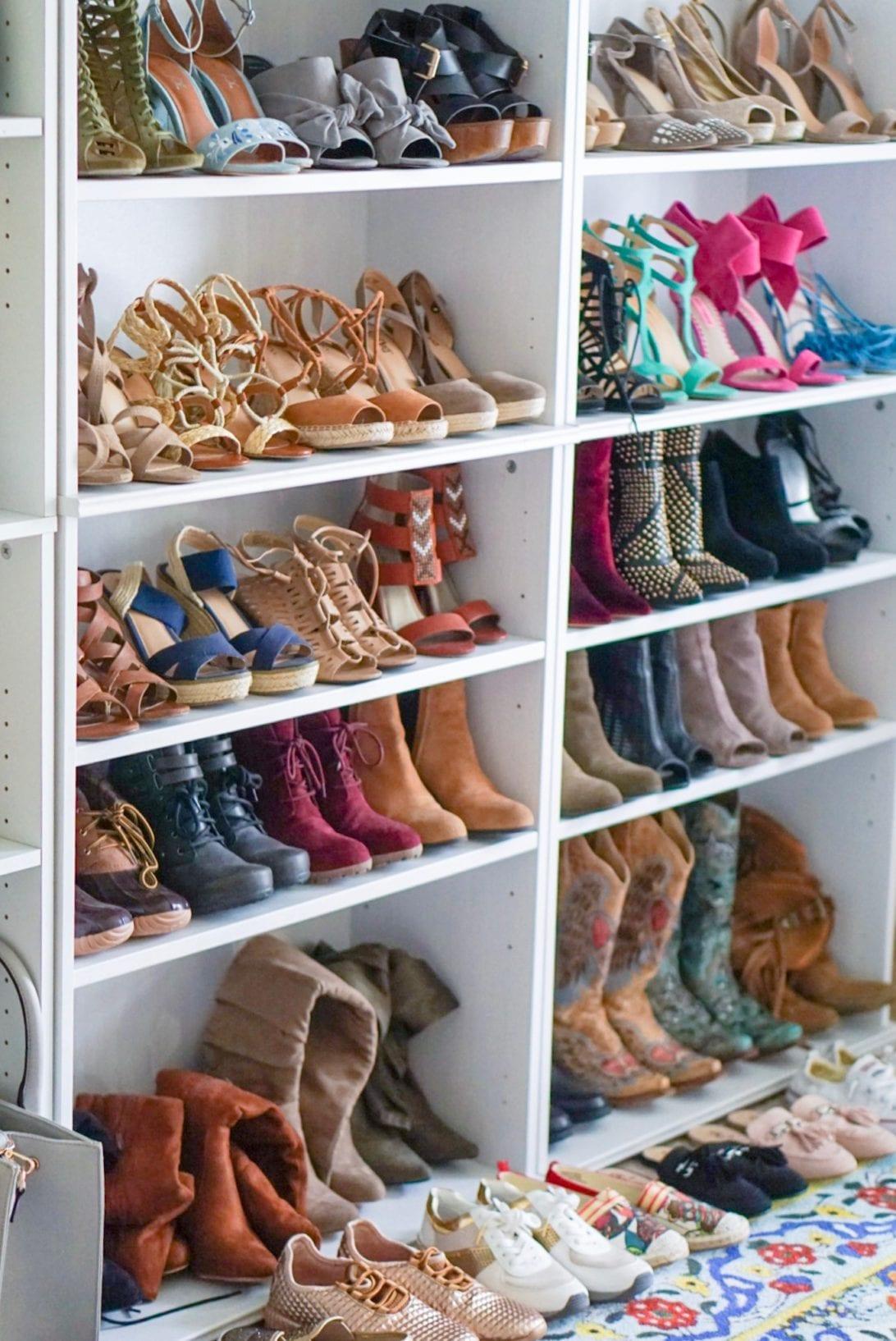 shoe shelves, shoe closet, shoe wall, designer shoes
