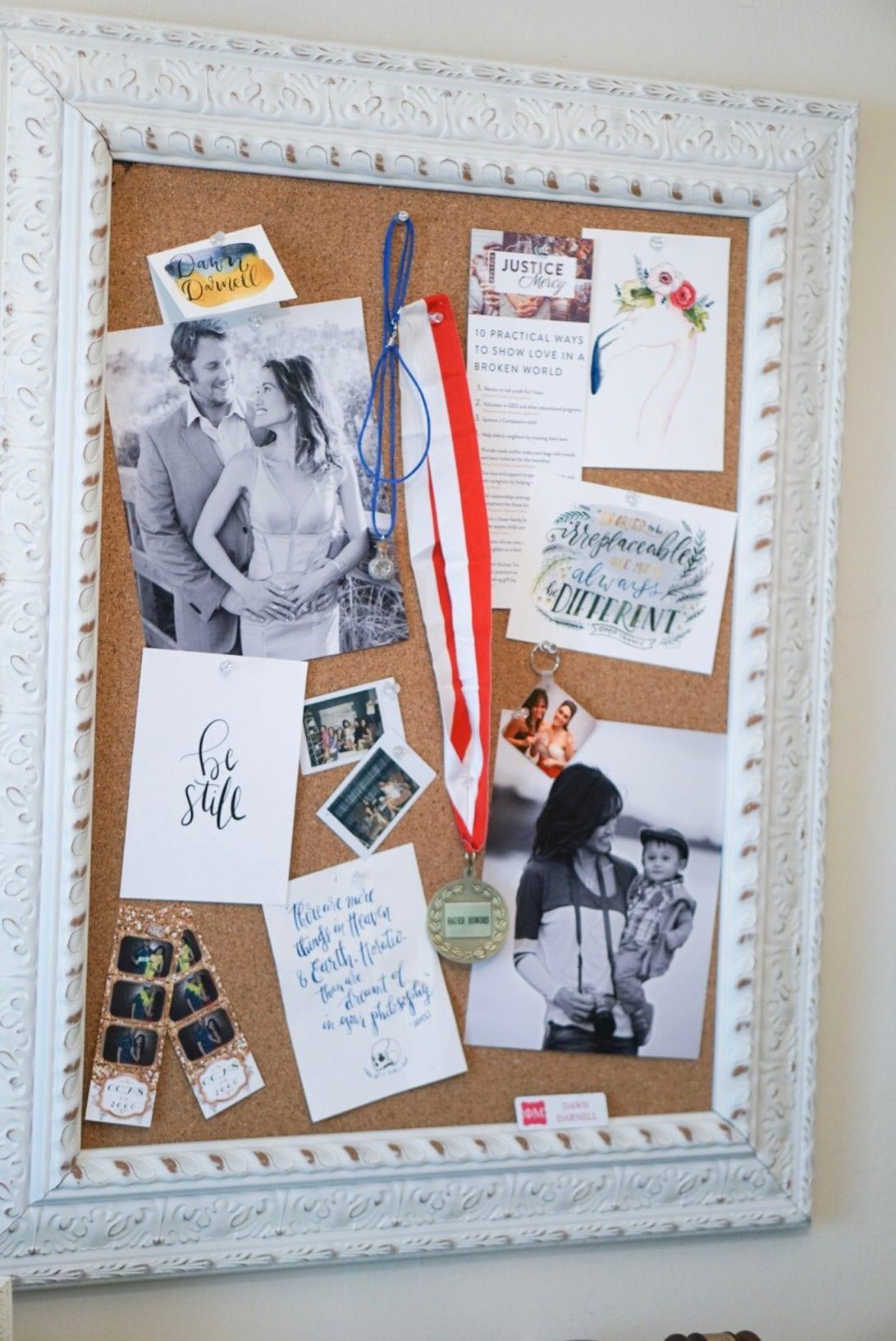 inspiration wall, cork board, home decor, office decor