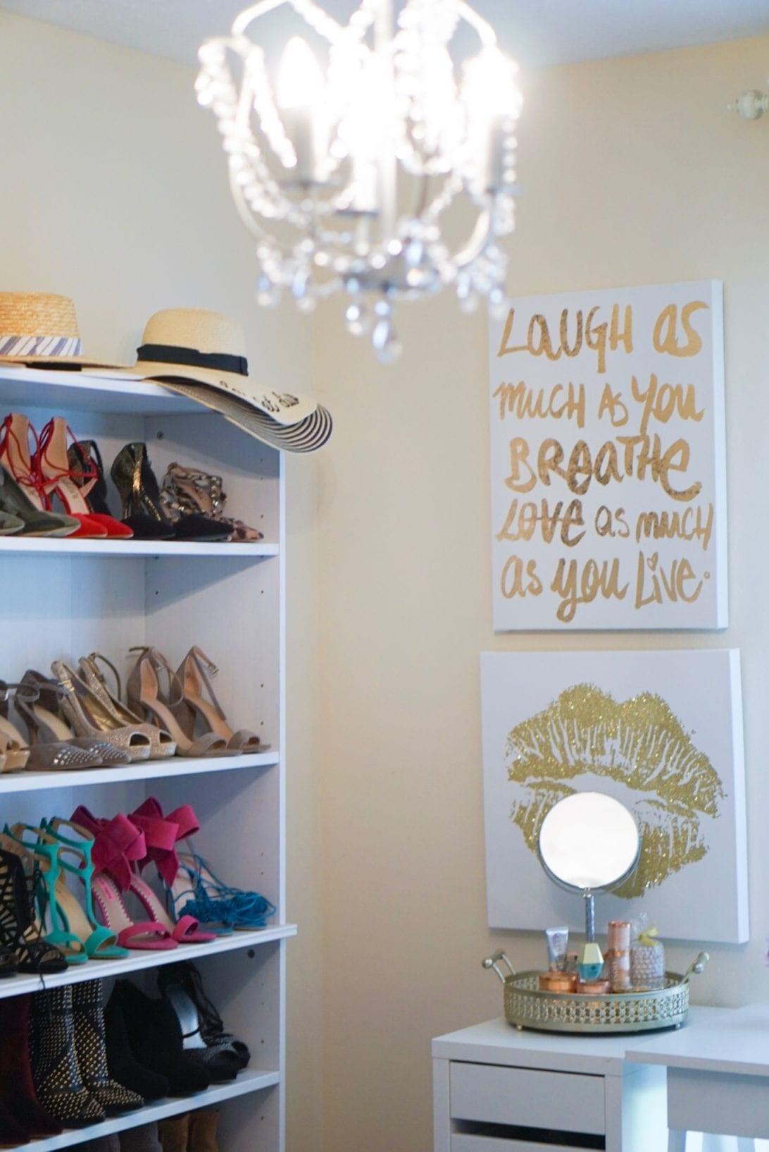 wall decor, vanity desk, chandelier, office tour, closet tour