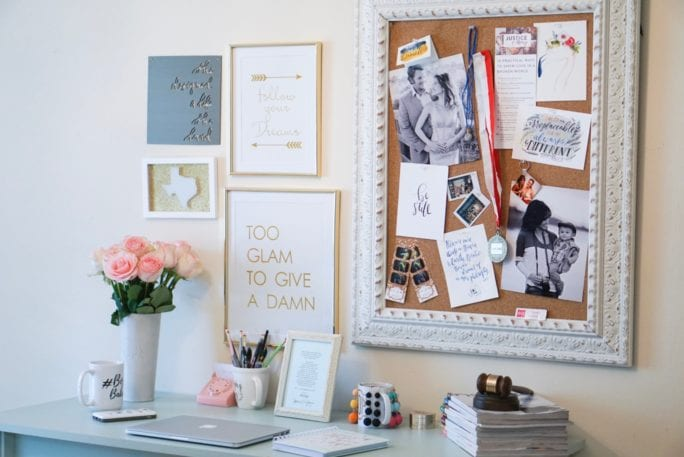 desk space, office decor, cork board, inspiration wall, diy wall, home office, gallery wall