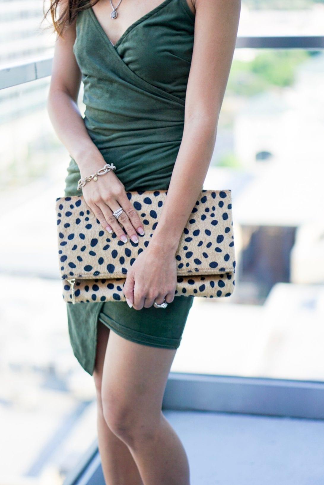 abaci, body icon dress, wrap dress, olive dress, cheetah clutch