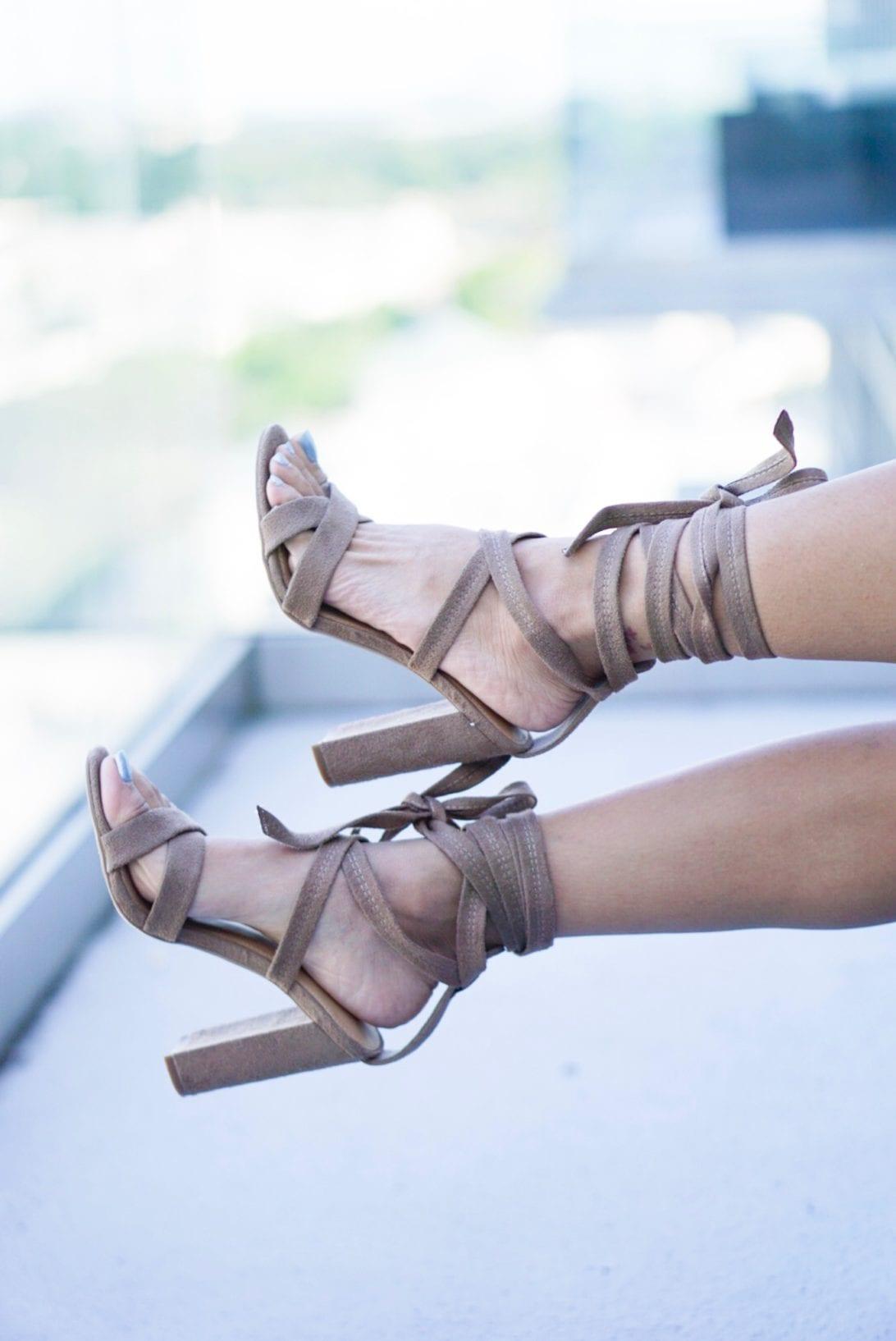 abaci, body icon dress, wrap dress, olive dress, wrap around heels, wrap heels, cheetah clutch