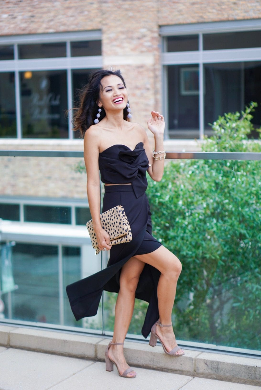 Sweet Knot Bustier Top and Flap Skirt Set,bustier top, crop top, two piece dress, bauble ball earring, block heels, and cheetah clutch, chicwish, date night outfit
