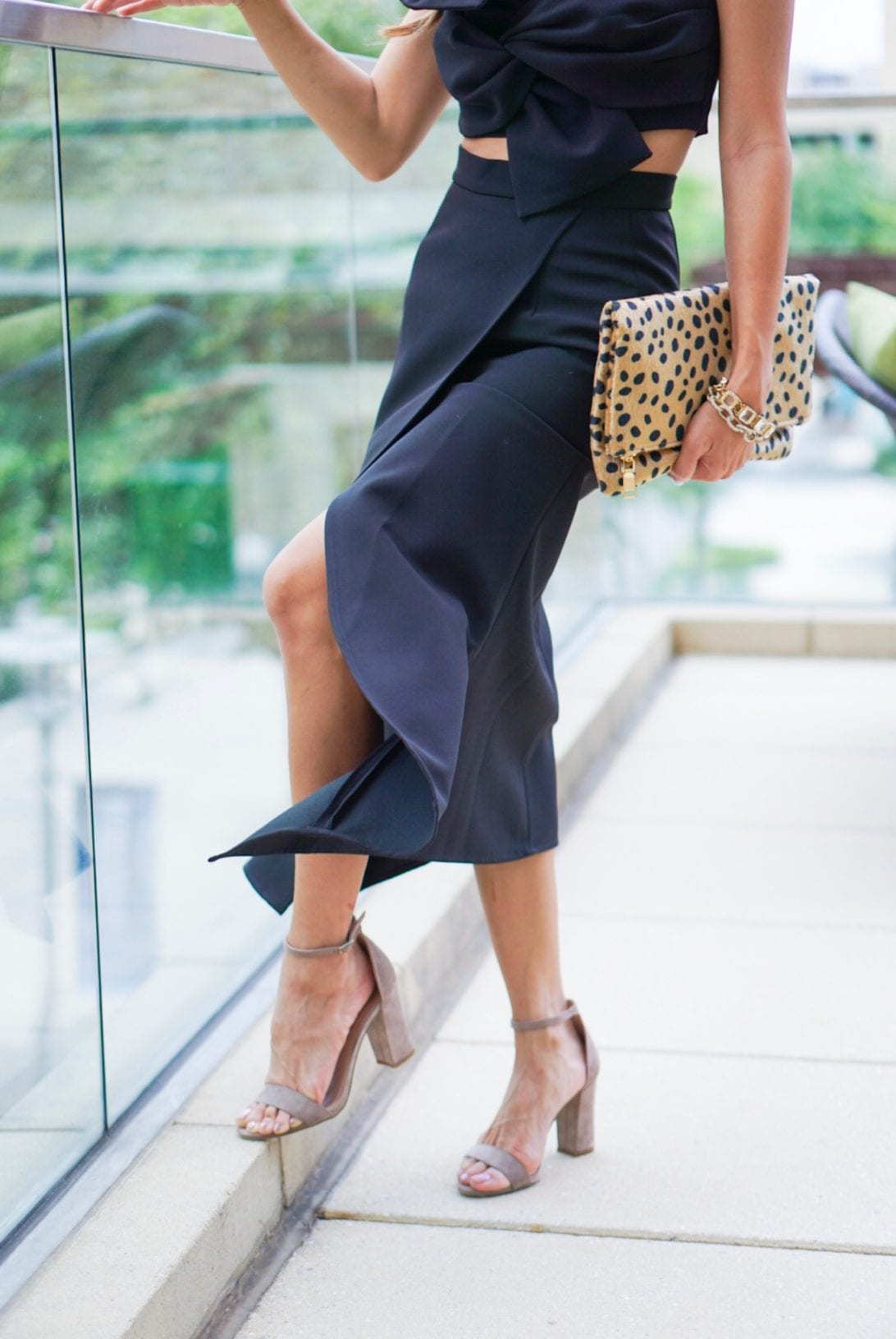 steve madden block heels, cheetah clutch, black dress, black two piece dress