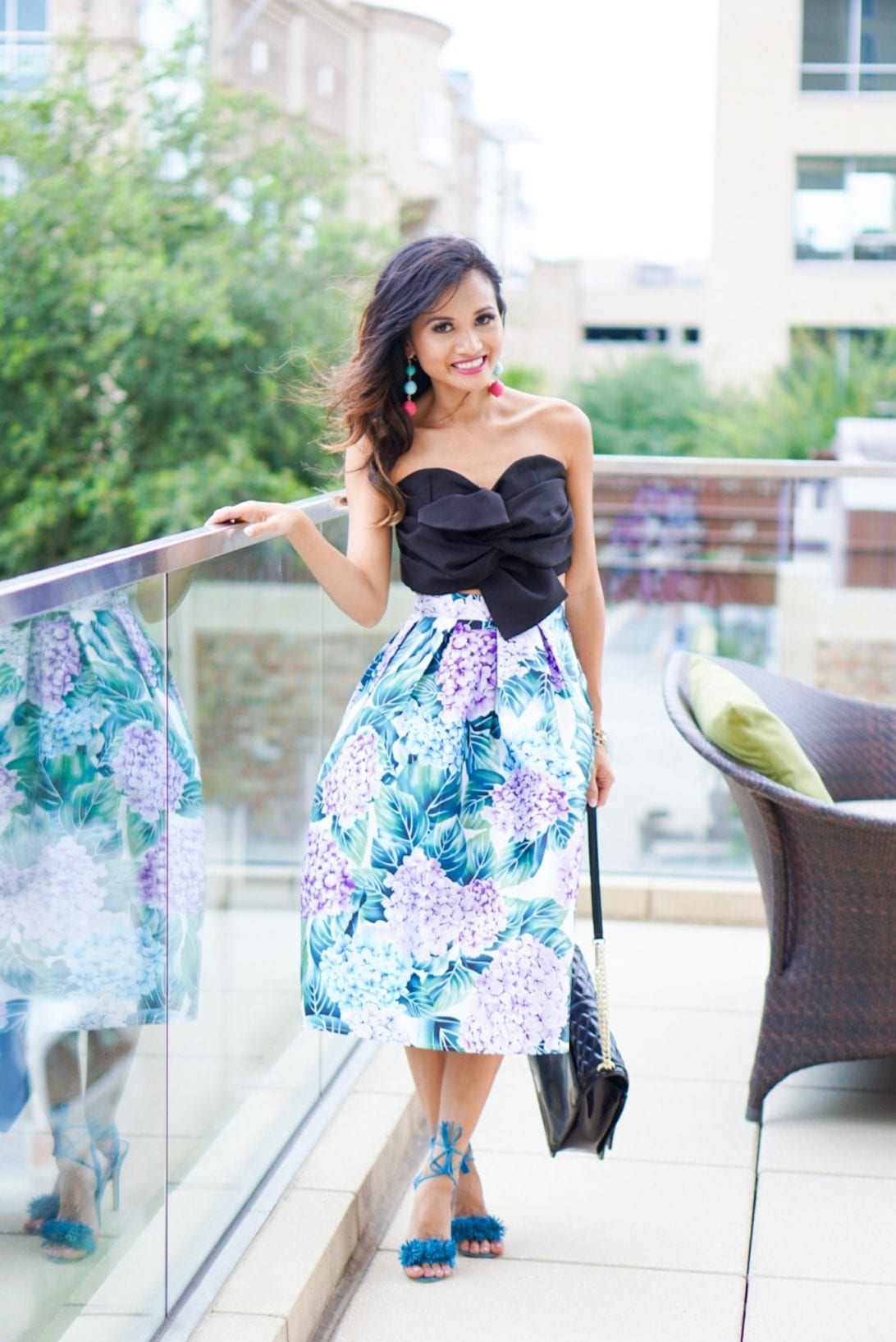 sunday outfit, brunch outfit, pom heels, midi skirt
