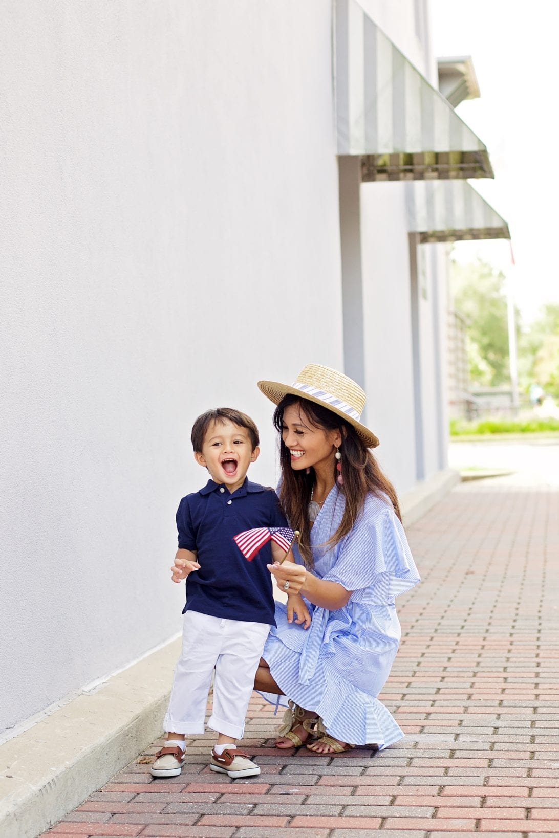 MOMMY AND ME OUTFITS, MOMMY AND SON OUTFIT, POLO AND WHITE PANTS, WRAP DRESS