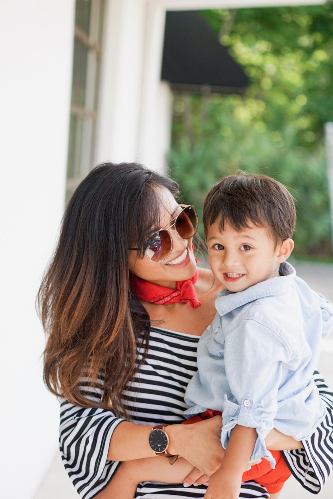 mommy and me, boy mom, potty training, red, white, and blue, daniel wellington watch