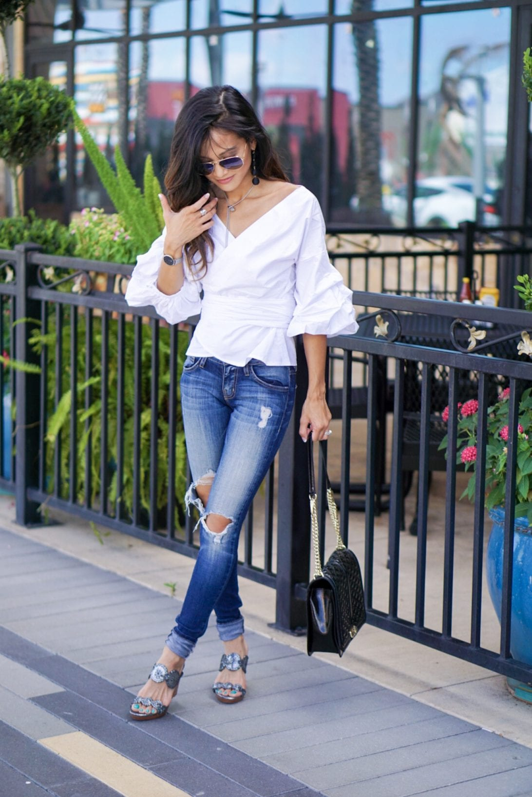 rayon aviators, daniel wellington, chicwish, white wrap top, denim, jack roger wedges, rebecca minkoff cross body bag