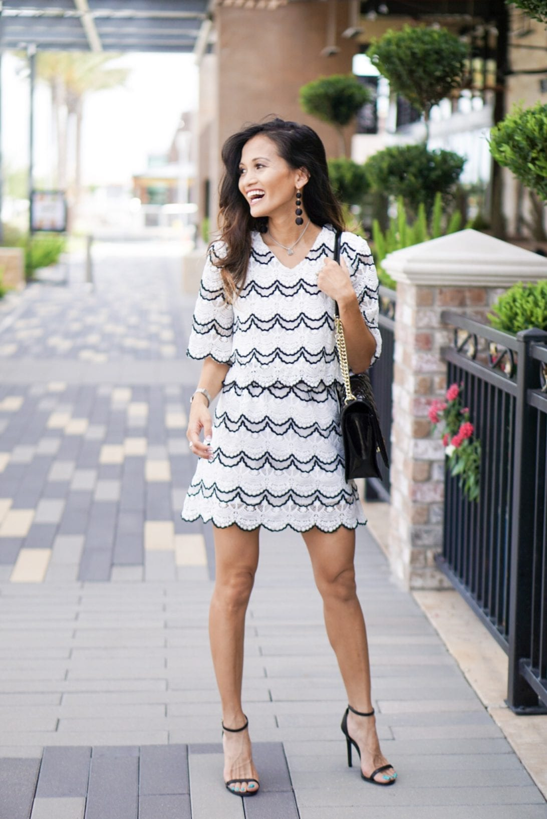 scallop details, chic wish, two piece set, black and white, bauble ball earrings, Rebecca minkoff bag