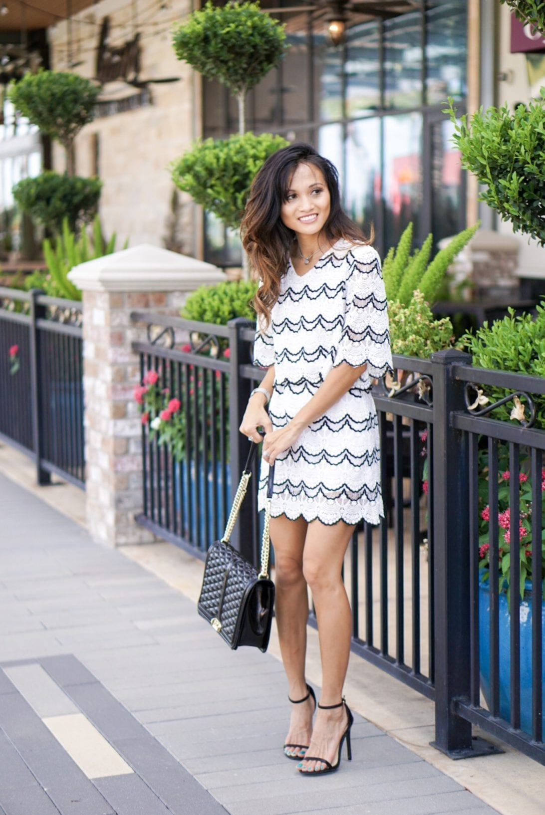 scallop skirt, scallop top, two piece skirt set, chicwish, date night look, Rebecca minkoff bag, what to wear to a wedding