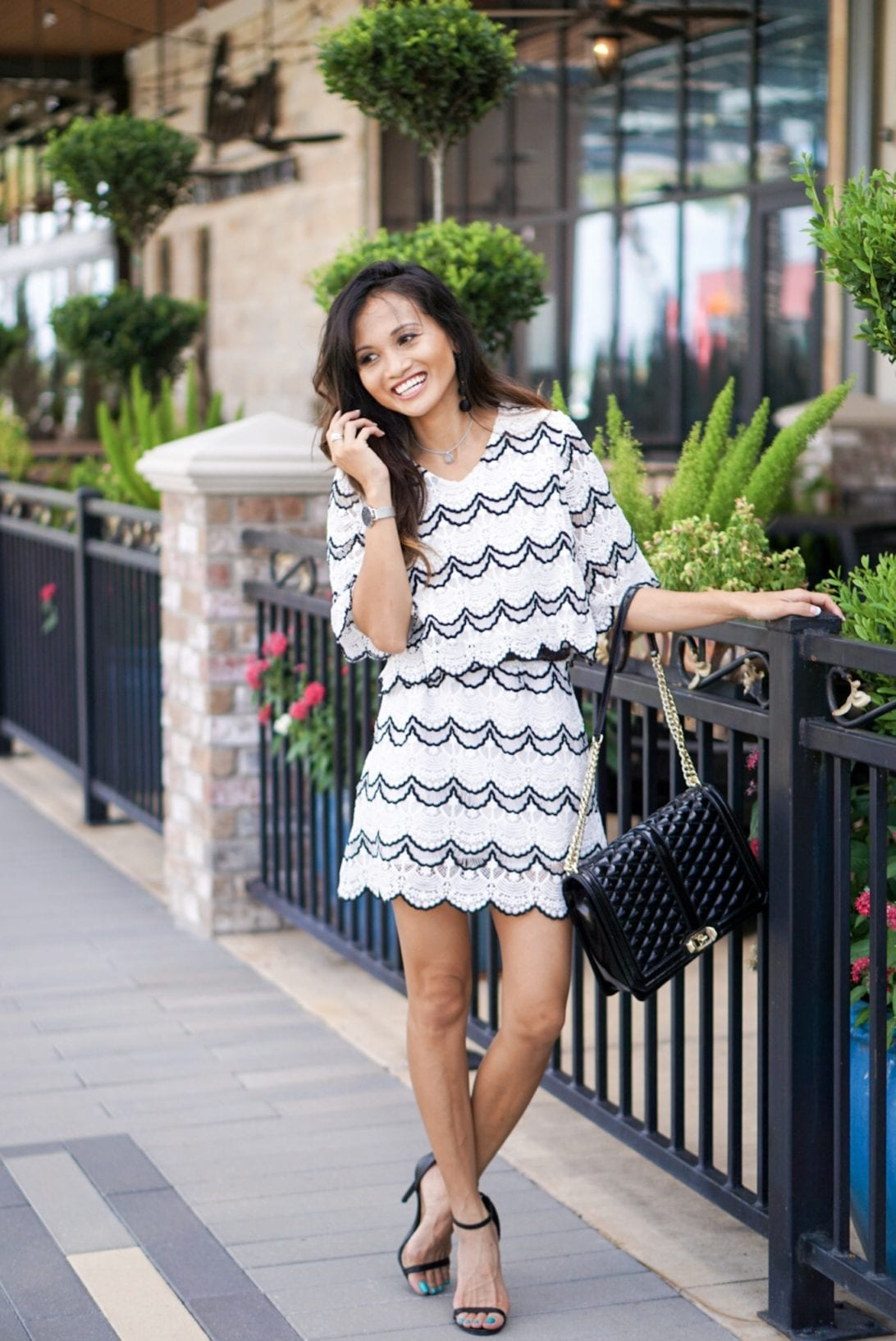 scallop skirt, scallop top, two piece skirt set, chicwish, date night look, Rebecca minkoff bag, date night outfit