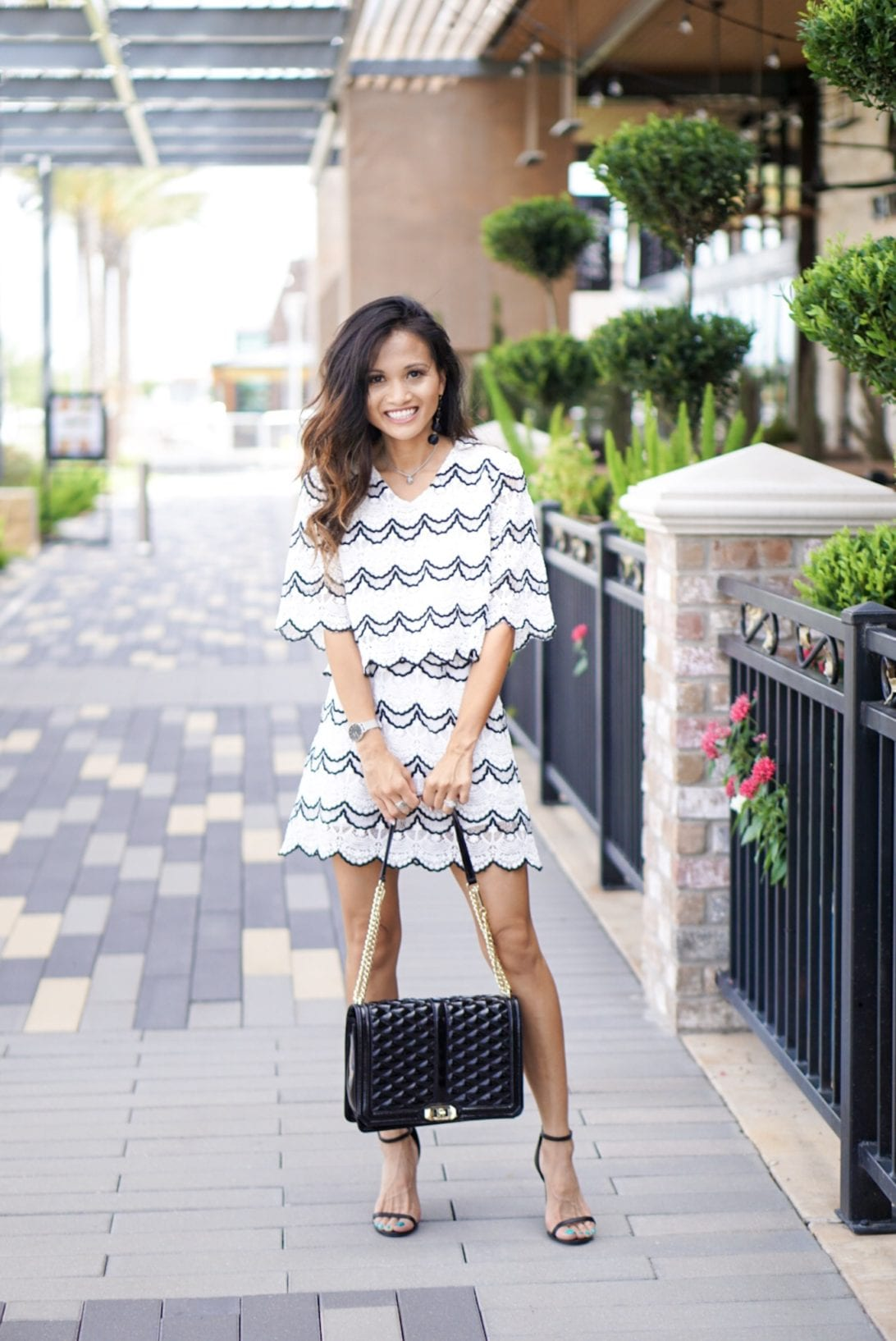 scallop skirt, scallop top, two piece skirt set, chicwish, date night look, Rebecca minkoff bag