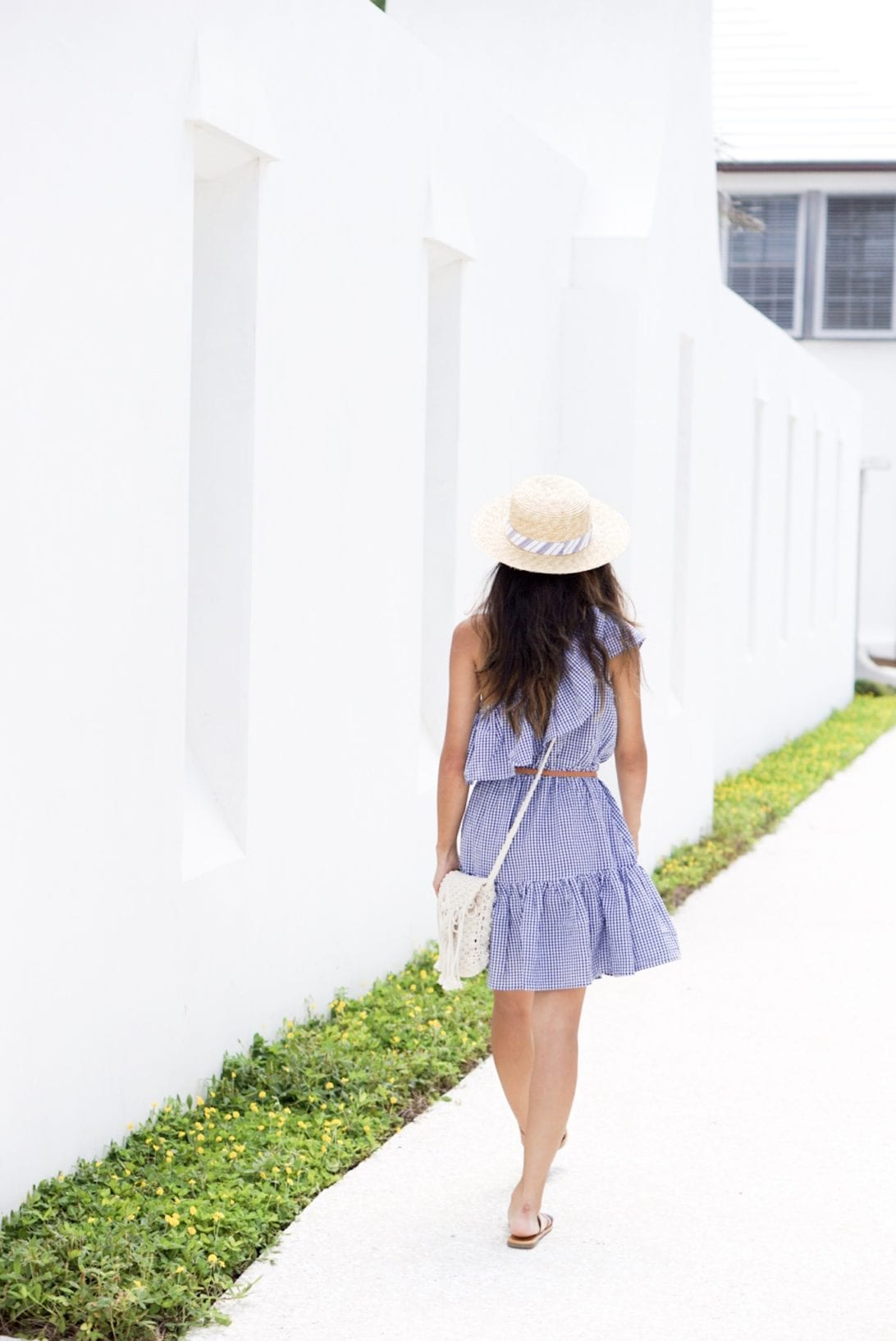 MINKPINK Wanderer One Shoulder Dress in Navy & White, gingham dress, agaci sandals, quay sunglasses, alys beach, Florida, 30a, visit Florida, gingham dress, one shoulder dresses