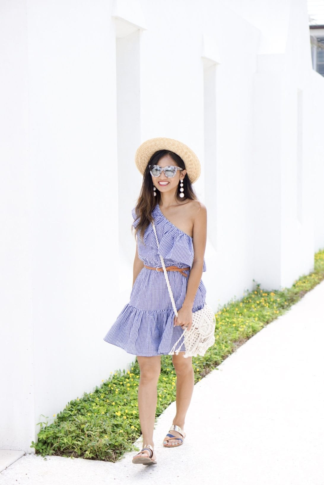 MINKPINK Wanderer One Shoulder Dress in Navy & White, gingham dress, agaci sandals, quay sunglasses, alys beach, Florida, 30a, visit Florida