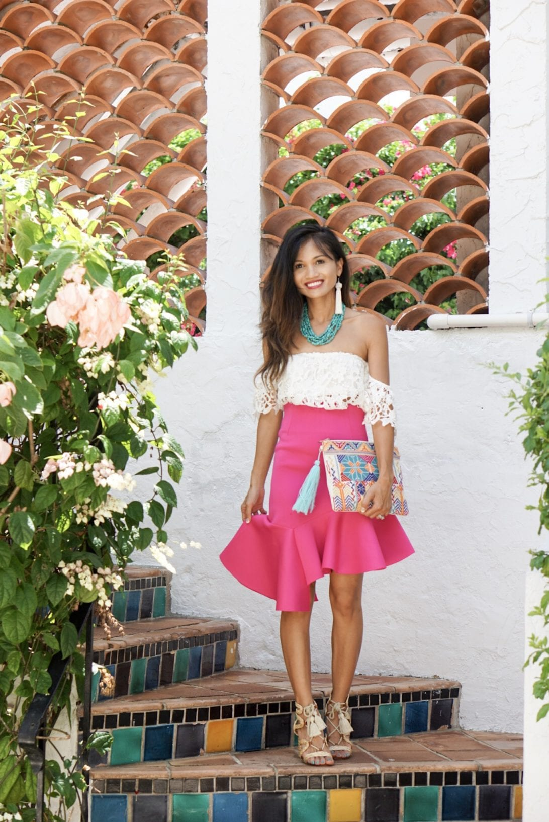 west palm beach, worth avenue, what to wear in palm beach, summer vacation style, pink ruffle skirt, off the shoulder white lace top, white tassel earrings, embroidered clutch, jute sandals, summer block heels, turquoise necklace, summer outfit, Florida vacation