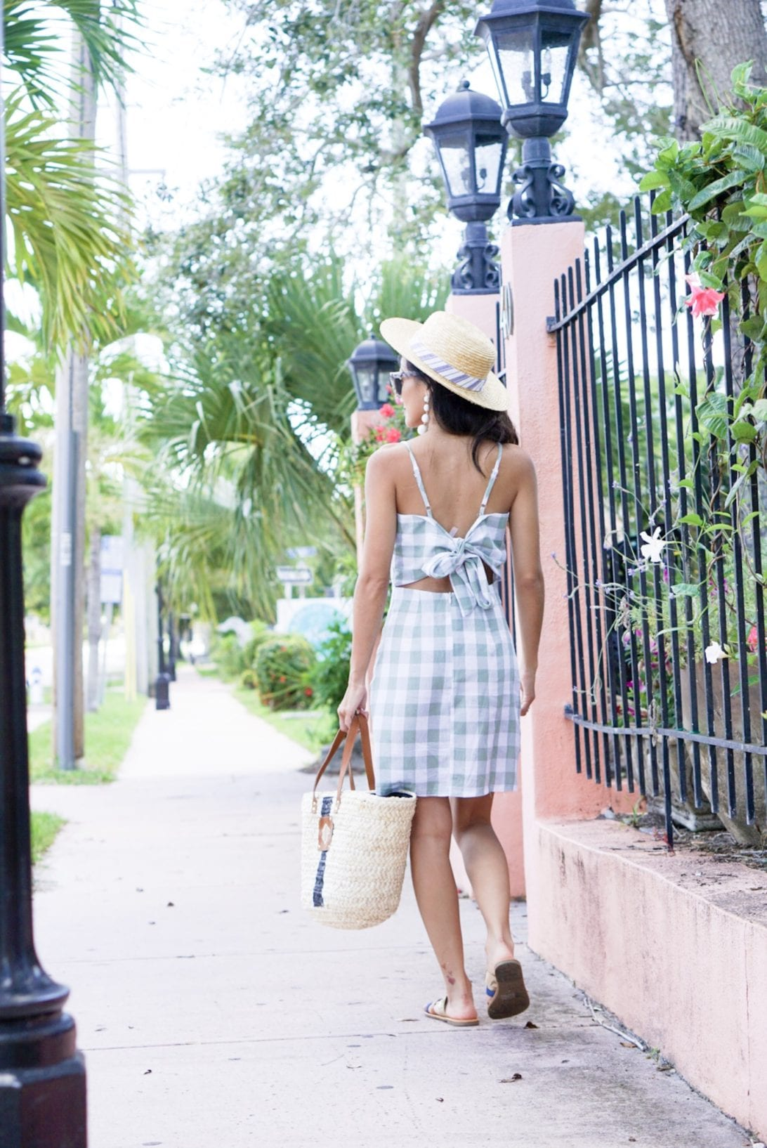 GREEN GINGHAM DRESS, SUMMER DRESS UNDER $50, SUMMER STYLE. BOAT HAT, BAUBLE BALL EARRINGS, FLORIDA, VACATION OUTFIT, VACATIONS STYLE, QUAY SUNGLASSES, MARLEYLILLY, MONOGRAMMED STRAW BAG, SUMMER BAG, GOLD SANDALS, SUMMER VACATION OUTFIT