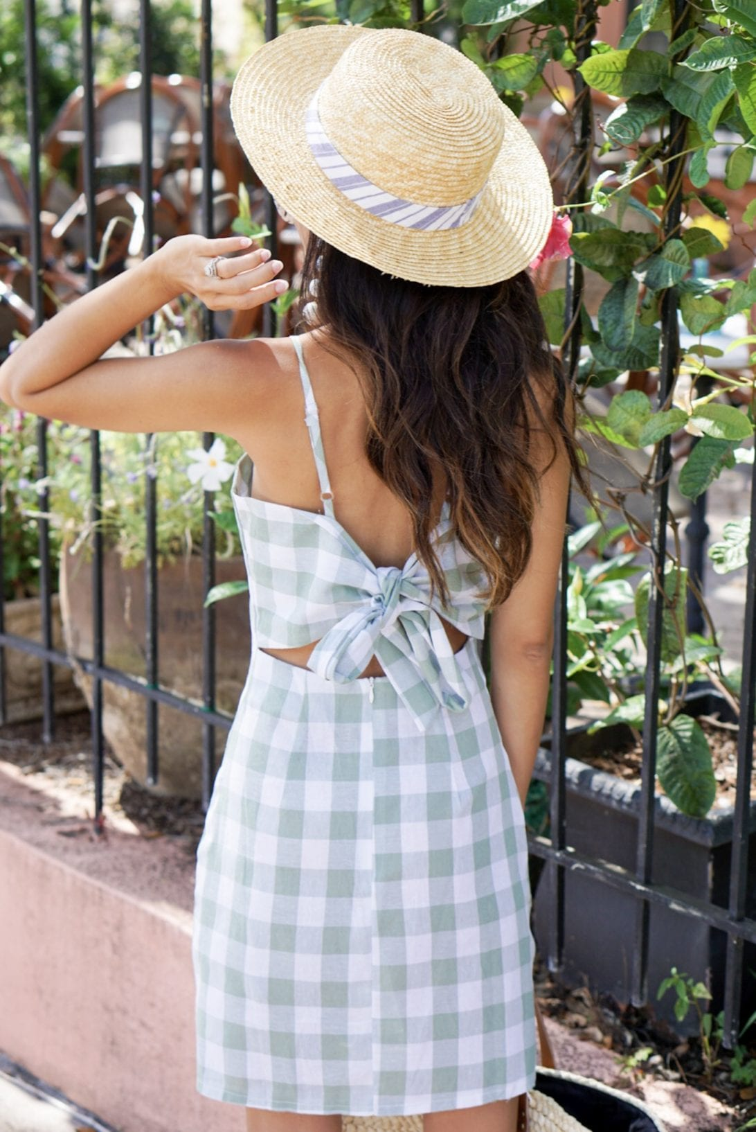 GREEN GINGHAM DRESS, SUMMER DRESS UNDER $50, SUMMER STYLE. BOAT HAT, BAUBLE BALL EARRINGS, FLORIDA, VACATION OUTFIT, VACATIONS STYLE