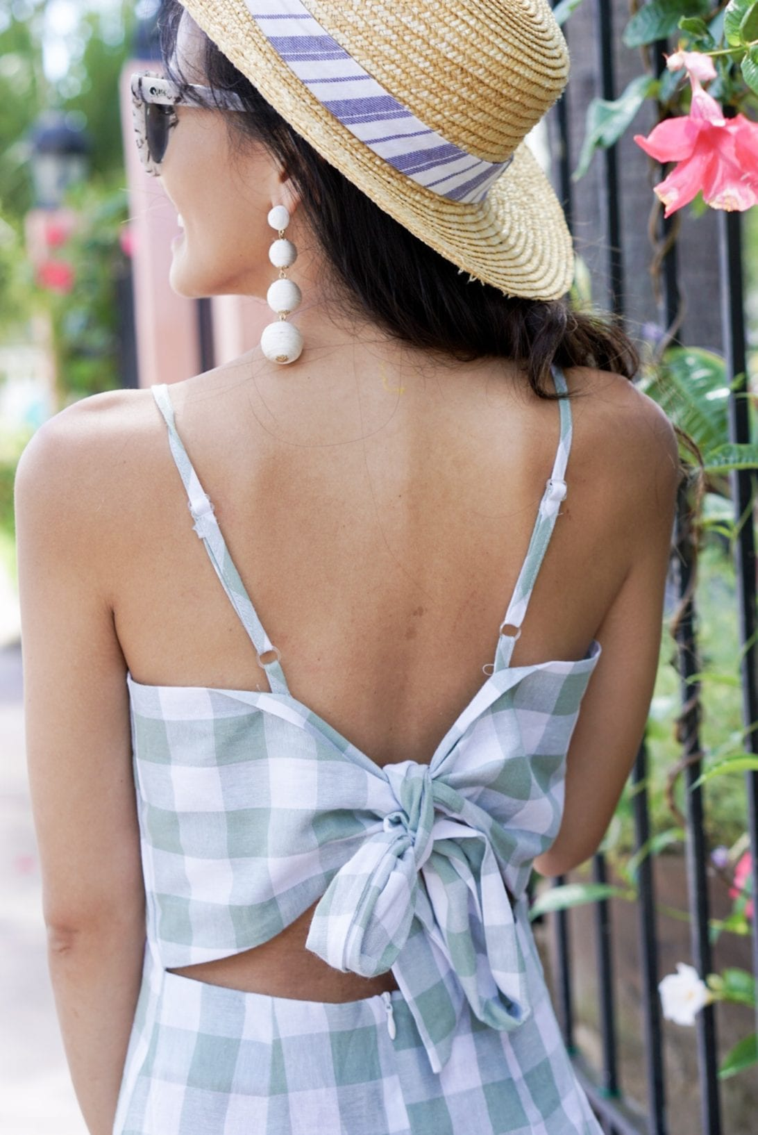 GREEN GINGHAM DRESS, SUMMER DRESS UNDER $50, SUMMER STYLE. BOAT HAT, BAUBLE BALL EARRINGS, FLORIDA, VACATION OUTFIT, VACATIONS STYLE, QUAY SUNGLASSES, MARLEYLILLY, MONOGRAMMED STRAW BAG, SUMMER BAG, GOLD SANDALS, SUMMER VACATION OUTFIT, BOW DETAIL