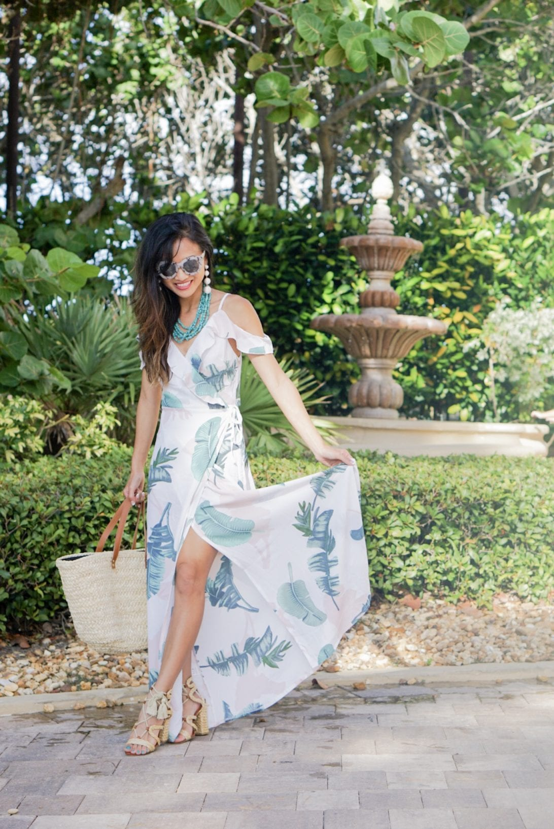 Palm Print Dress for Under $20, summer style, palm print dress, off the shoulder dress, monogrammed bag, turquoise necklace, quay sunglasses, vacation style, Mia sandals, Gigi Ghillie Sandal