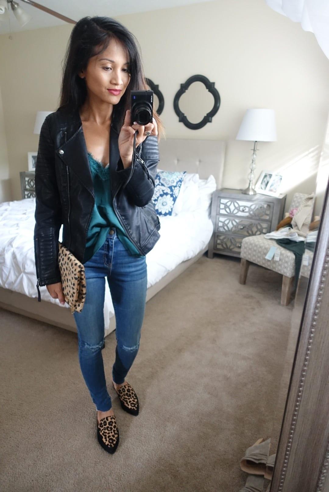 black Moto jacket, toyshop jacket, leopard mules, leopard clutch, nordstrom anniversary sale 2017