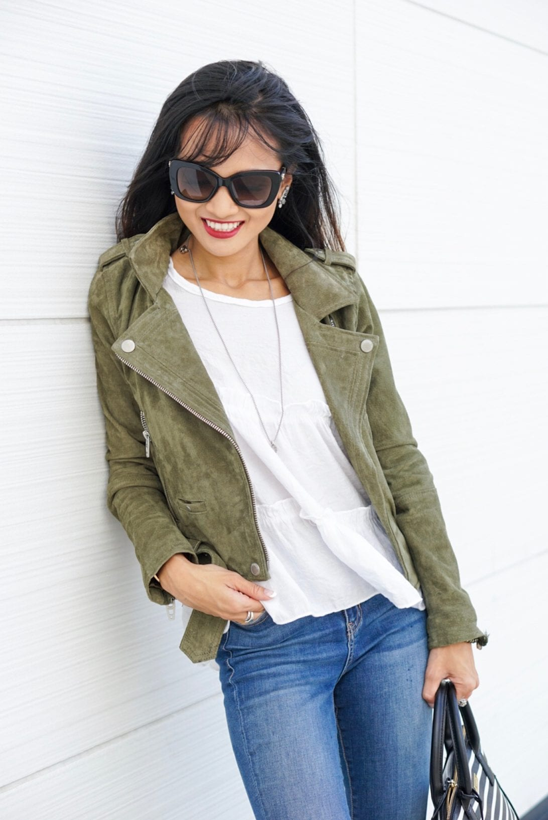 blank NYC, suede jacket, olive jacket, peplum top, Kate spade purse, skinny jeans, fall outfit, Versace sunglasses, open toe booties, NYC, NYFW, NYFW schedule
