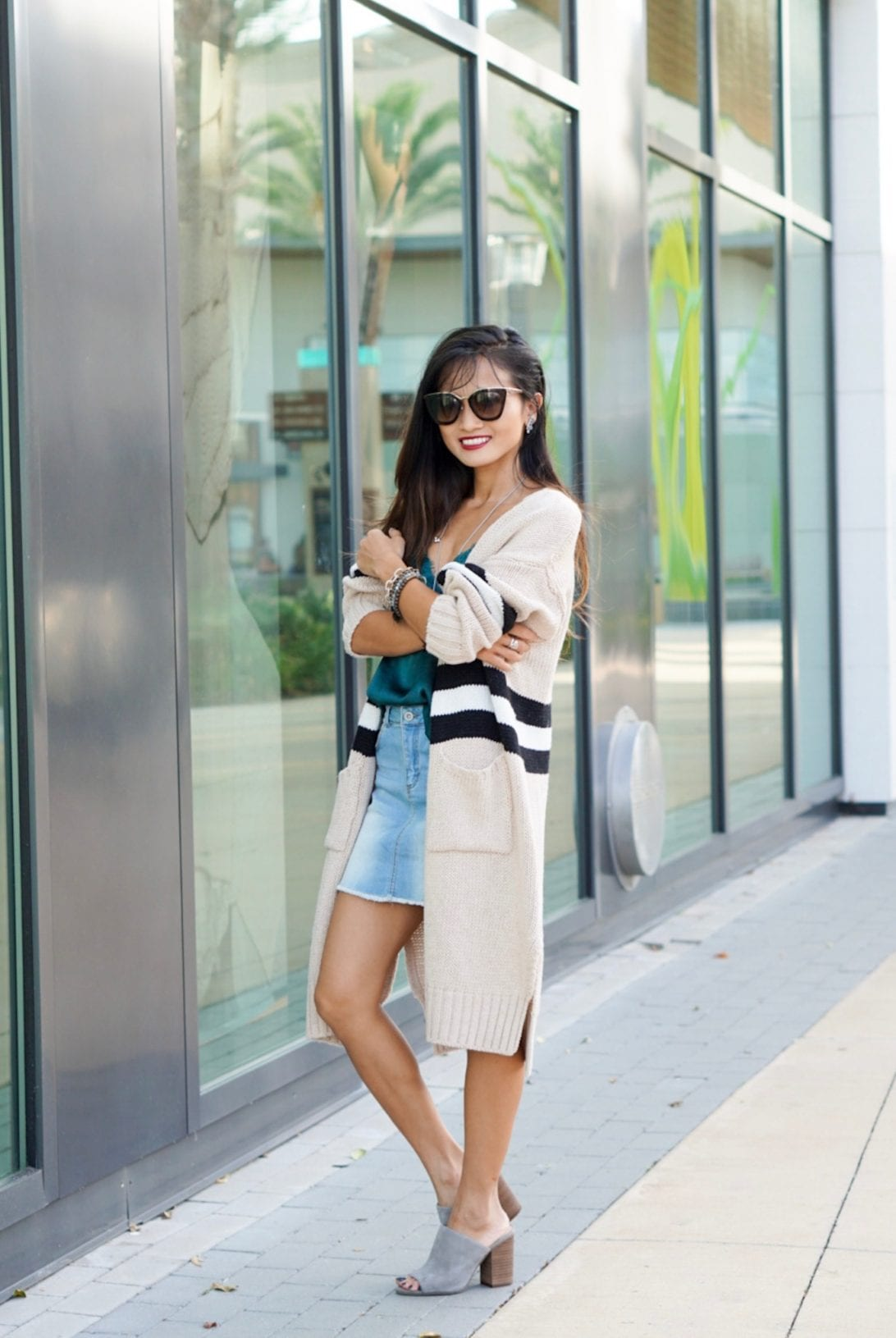 what to wear after Labor Day, transitioning from summer to fall wardrobe, what to wear in the fall, fall outfit, oversized cardigan, denim skirt, summer outfit, Prada glasses, camisole, slides, grey slides, Nordstrom, goodnight macaroon, daniel Wellington watch.