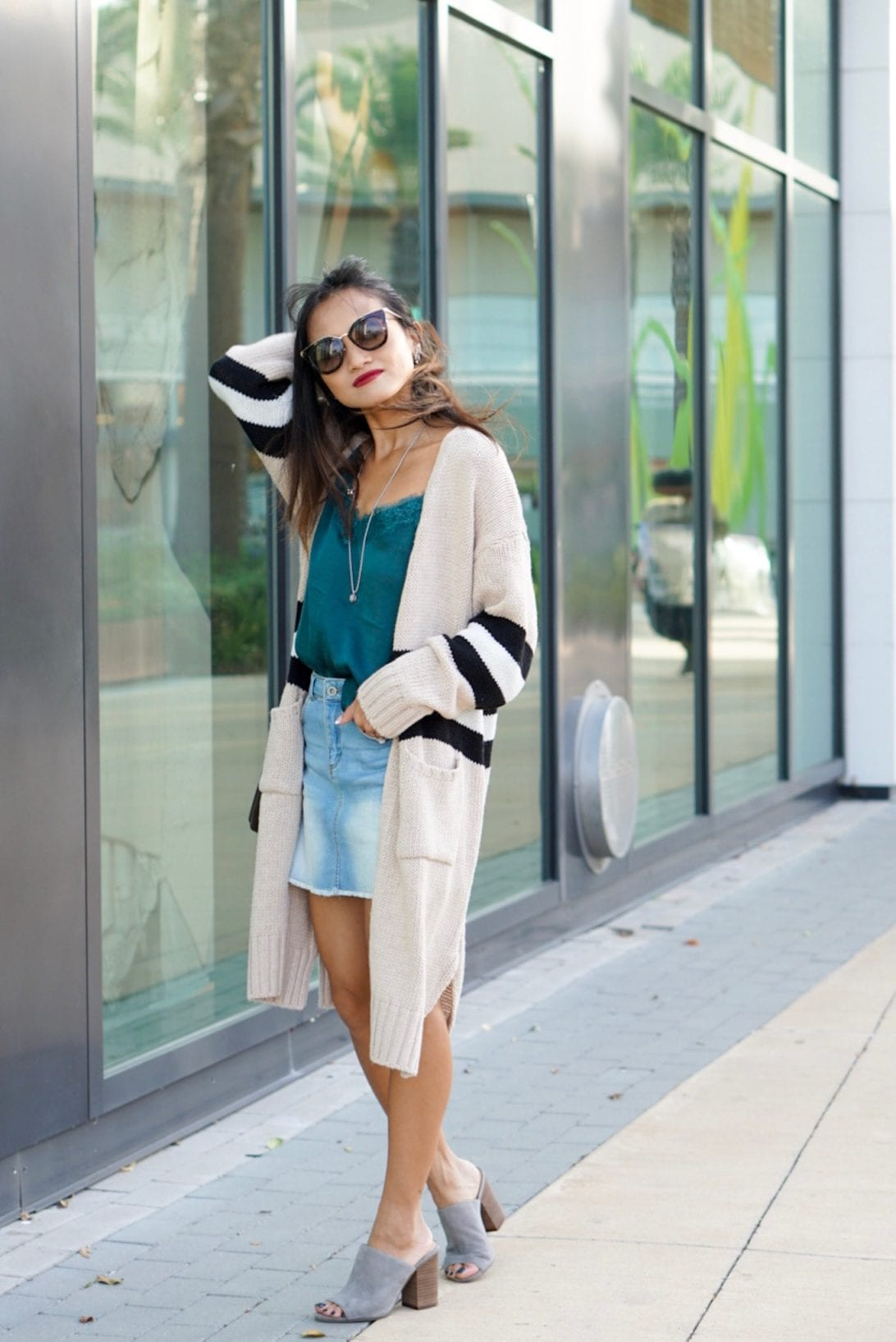 what to wear after Labor Day, transitioning from summer to fall wardrobe, what to wear in the fall, fall outfit, oversized cardigan, denim skirt, summer outfit, Prada glasses, camisole, slides, grey slides, Nordstrom, goodnight macaroon, daniel Wellington watch