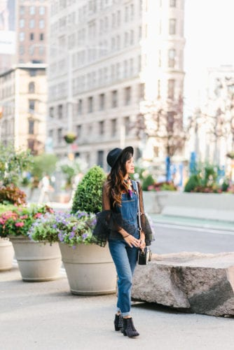 NYFW OUTFIT, NYFW STREET STYLE, New York FASHION WEEK, New York CITY, OUTFIT, STYLE, FALL OUTFIT, BLACK FEDORA, BELL SLEEVE TOP, HOW TO WEAR OVERALLS, DENIM OVERALLS, OVERALLS, FLATIRON, NYC, NYFW RECAP, STUDDED BOOTIES, #NYFW2017, HOW TO WEAR A SCARF