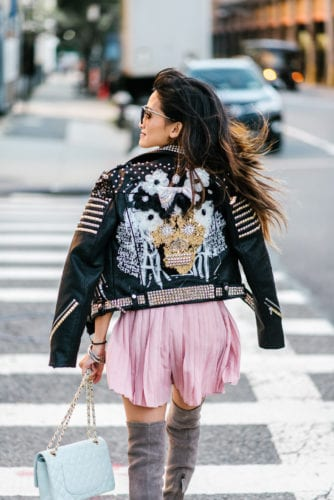 NYFW, New York FASHION WEEK, NYFW 2017, STREET STYLE, NYFW STREET STYLE, EMBELLISHED JACKET, STUDDED JACKET, MOTO JACKET, GOODNIGHT MACAROON, THIGH HIGH BOOTS, GRAY OTK BOOTS, FALL BOOTS, OVER THE KNEE BOOTS, CHANEL BAG, NYFW RECAP, PRADA SUNGLASSES, PINK ROMPER