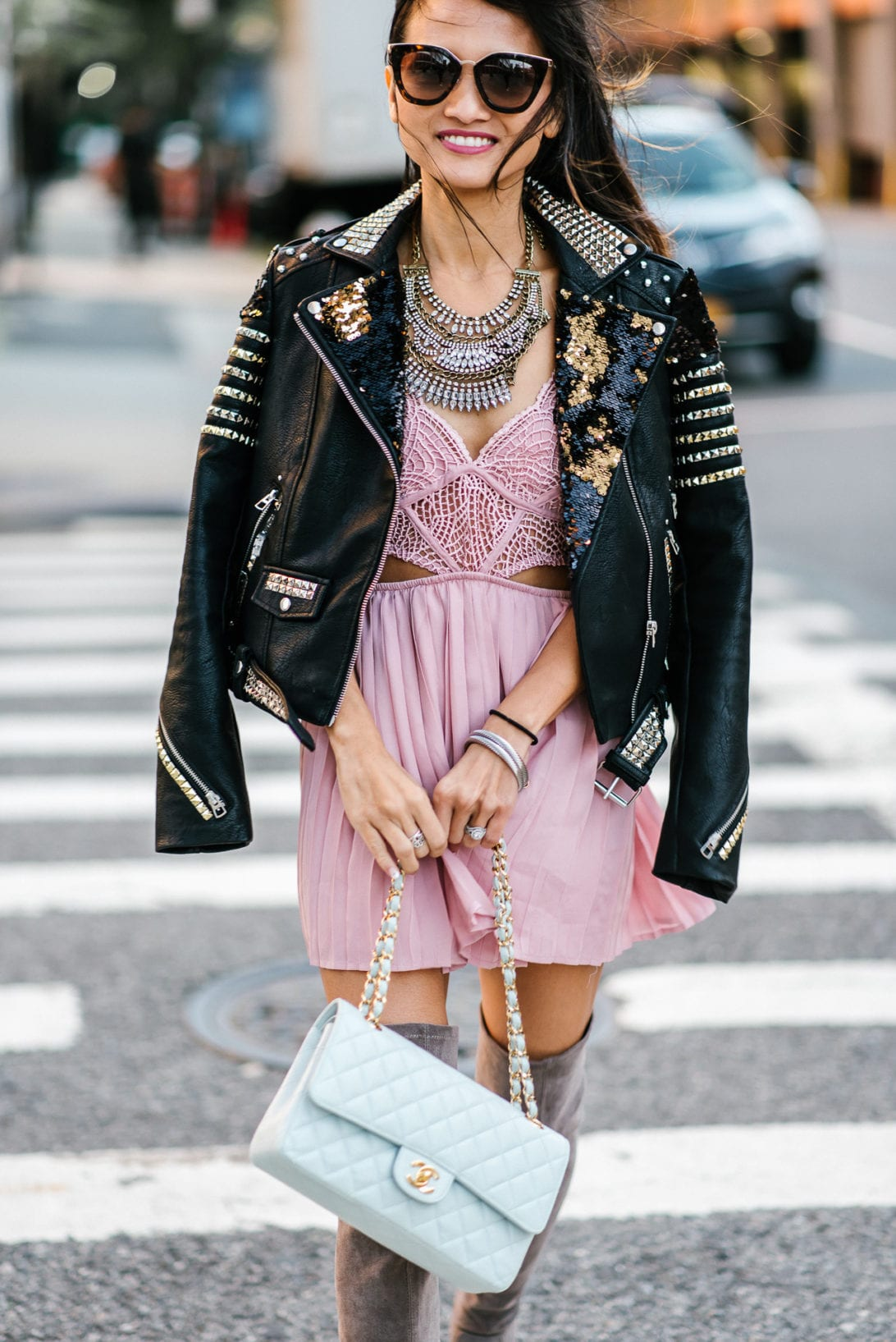 NYFW, New York FASHION WEEK, CUSTOMIZE DIY JACKET, DIY LEATHER JACKET, EMBELLISHED JACKET, STUDDED JACKET, SEQUIN JACKET, NYFW STREET STYLE, FRIDA KAHLO, diy under $50