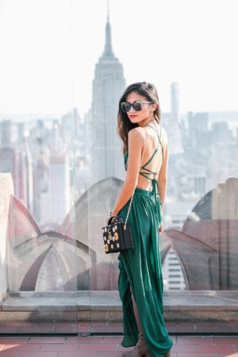 NYC travel guide, things to do in NYC, places to take pictures in NYC, top of the rock, Rockefeller center, pared sunglasses, green dress, greenification, otk boots, grey boots, fall boots, thigh high boots