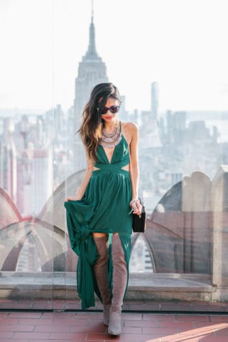 NYFW 2017, NYFW, New York FASHION WEEK, NYC travel guide, things to do in NYC, places to take pictures in NYC, top of the rock, Rockefeller center, pared sunglasses, green dress, FASHION BLOGGERS, HOUSTON FASHION BLOGGERS